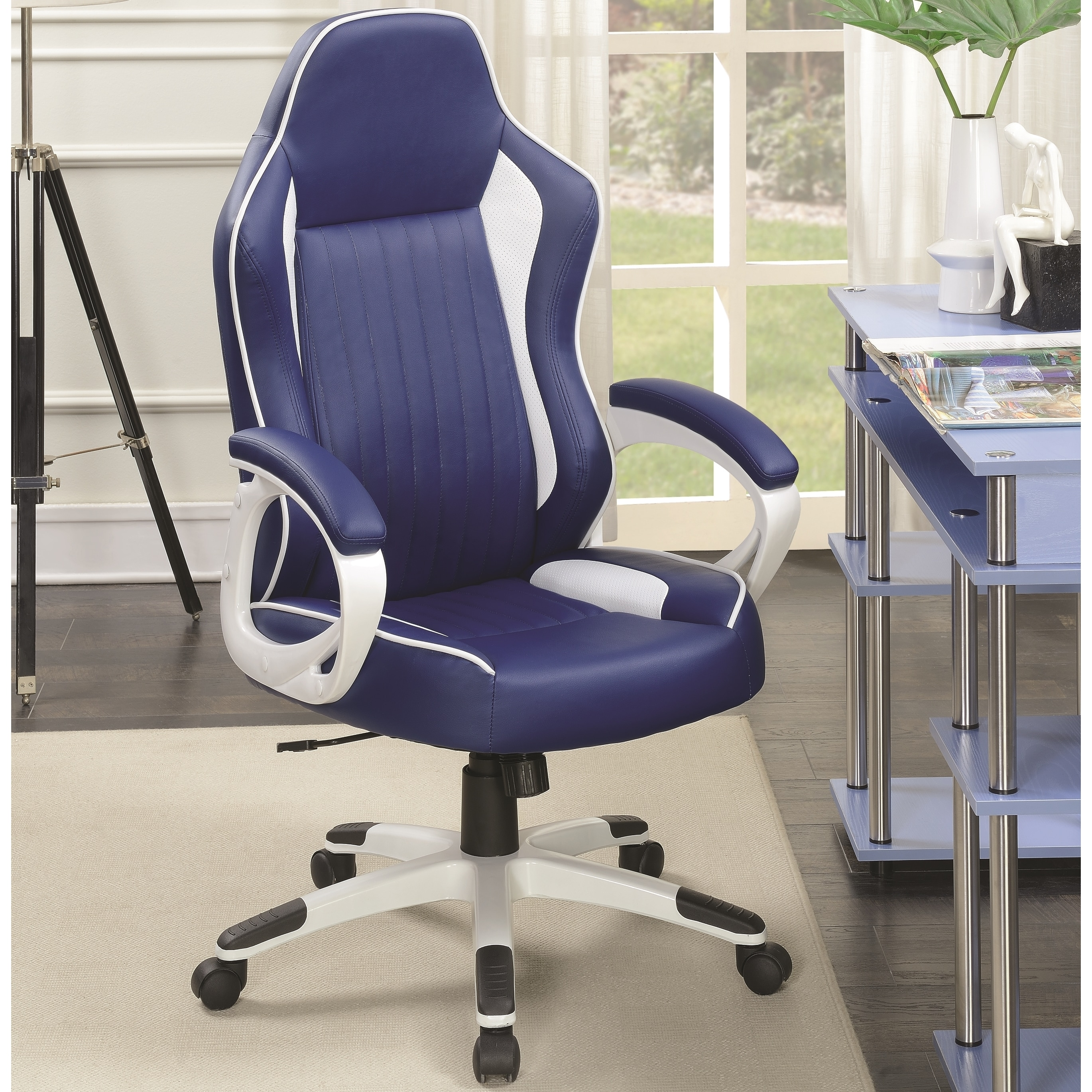 office gaming sports black chair raygar racing padded deluxe blue