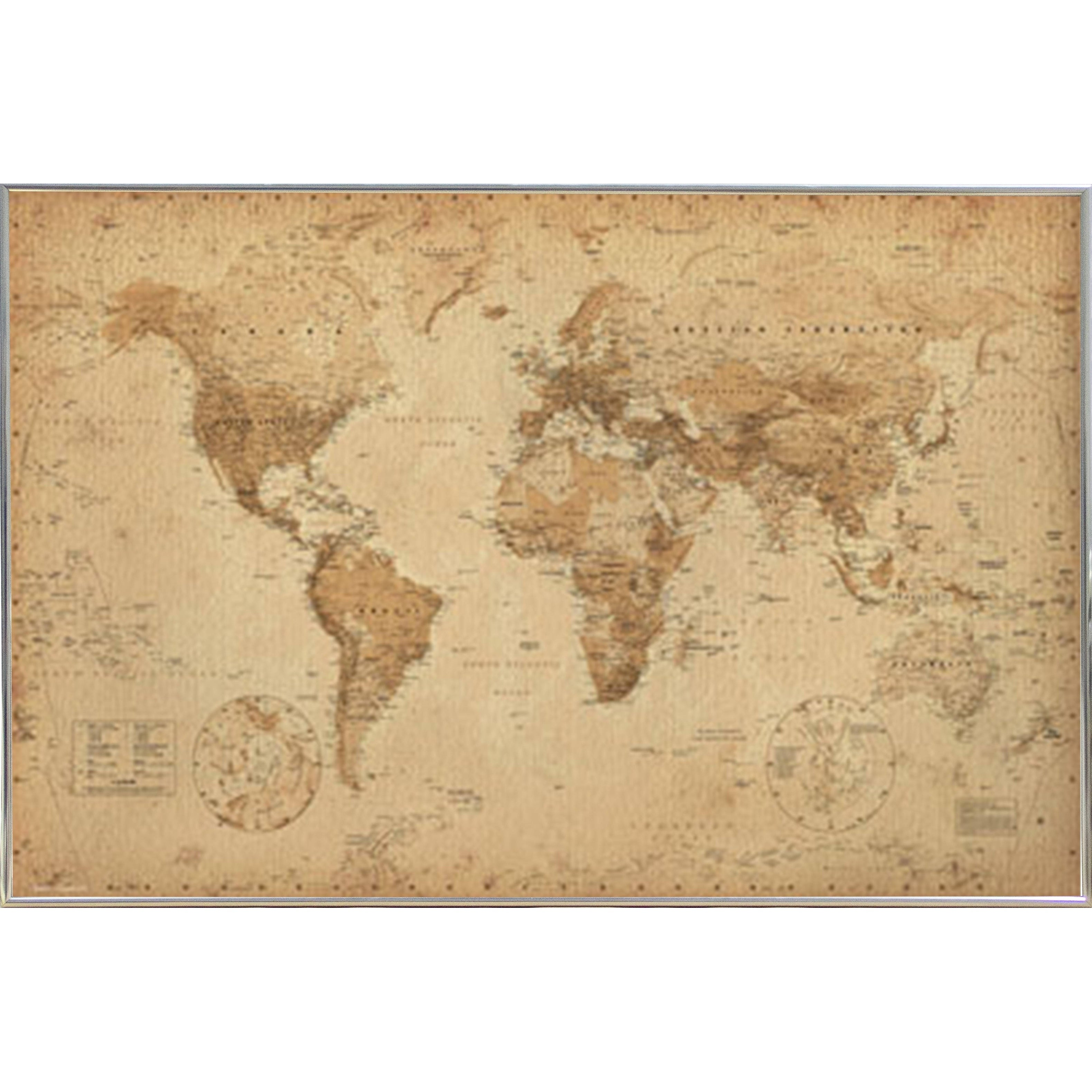 Shop World Map Antique With Choice of Frame (24x36) - Free Shipping ...