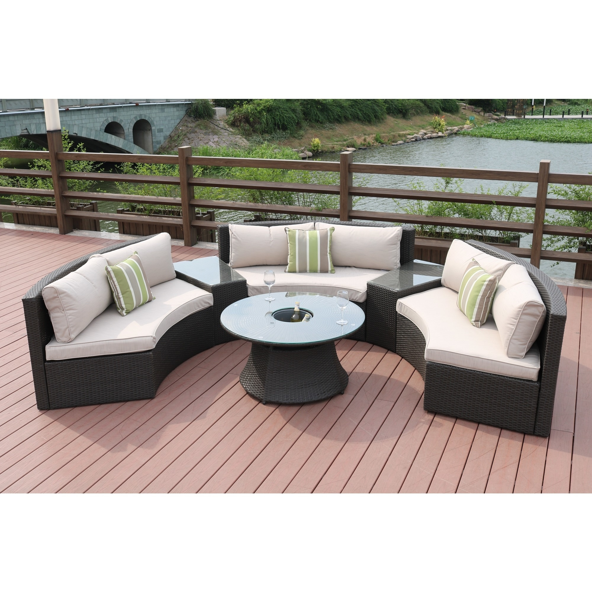 Half Moon 6-piece Outdoor Curved Sectional Sofa with Side Table Set ...