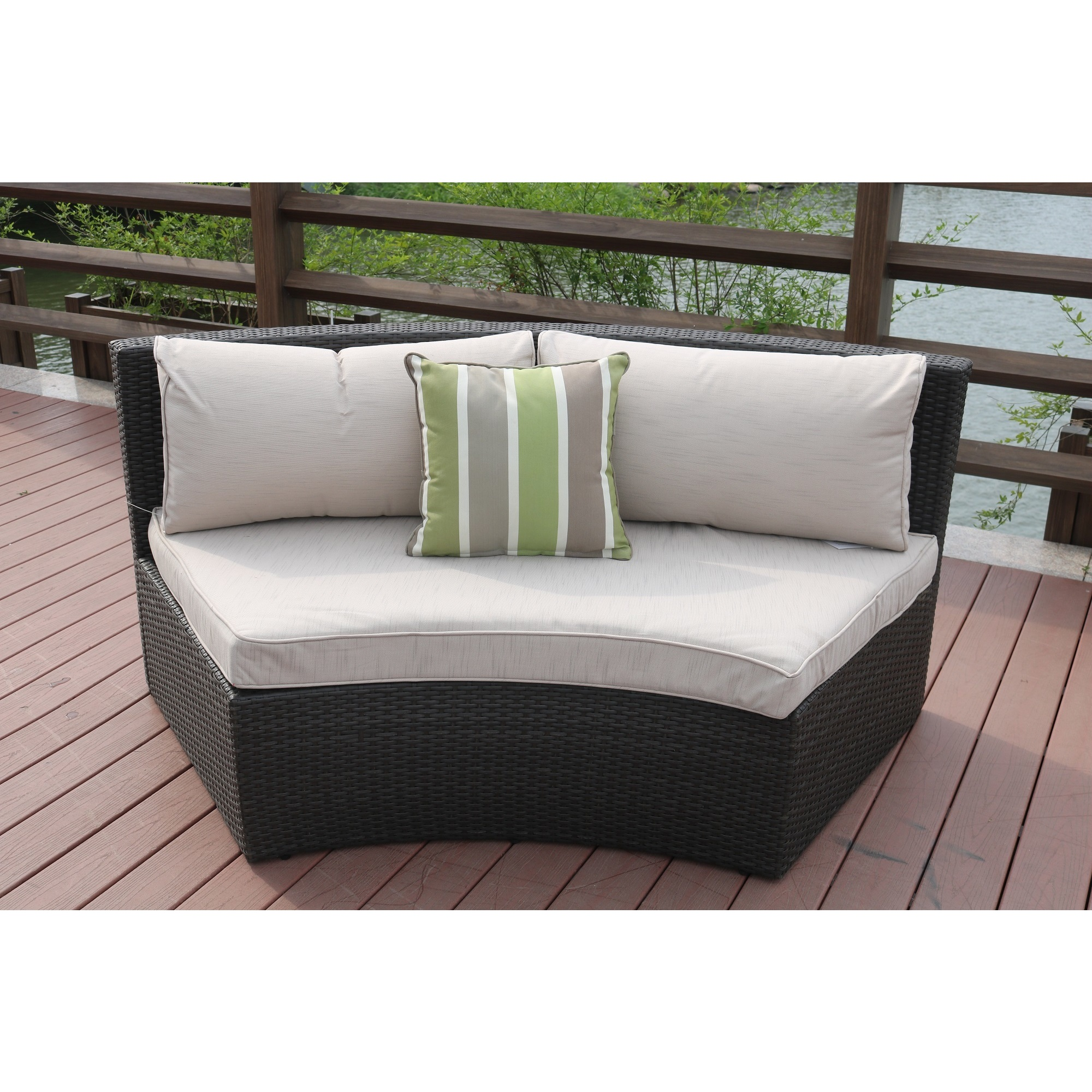 Shop Half Moon 6 Piece Outdoor Curved Sectional Sofa With Side Table Set By  Direct Wicker   On Sale   Free Shipping Today   Overstock.com   16899729