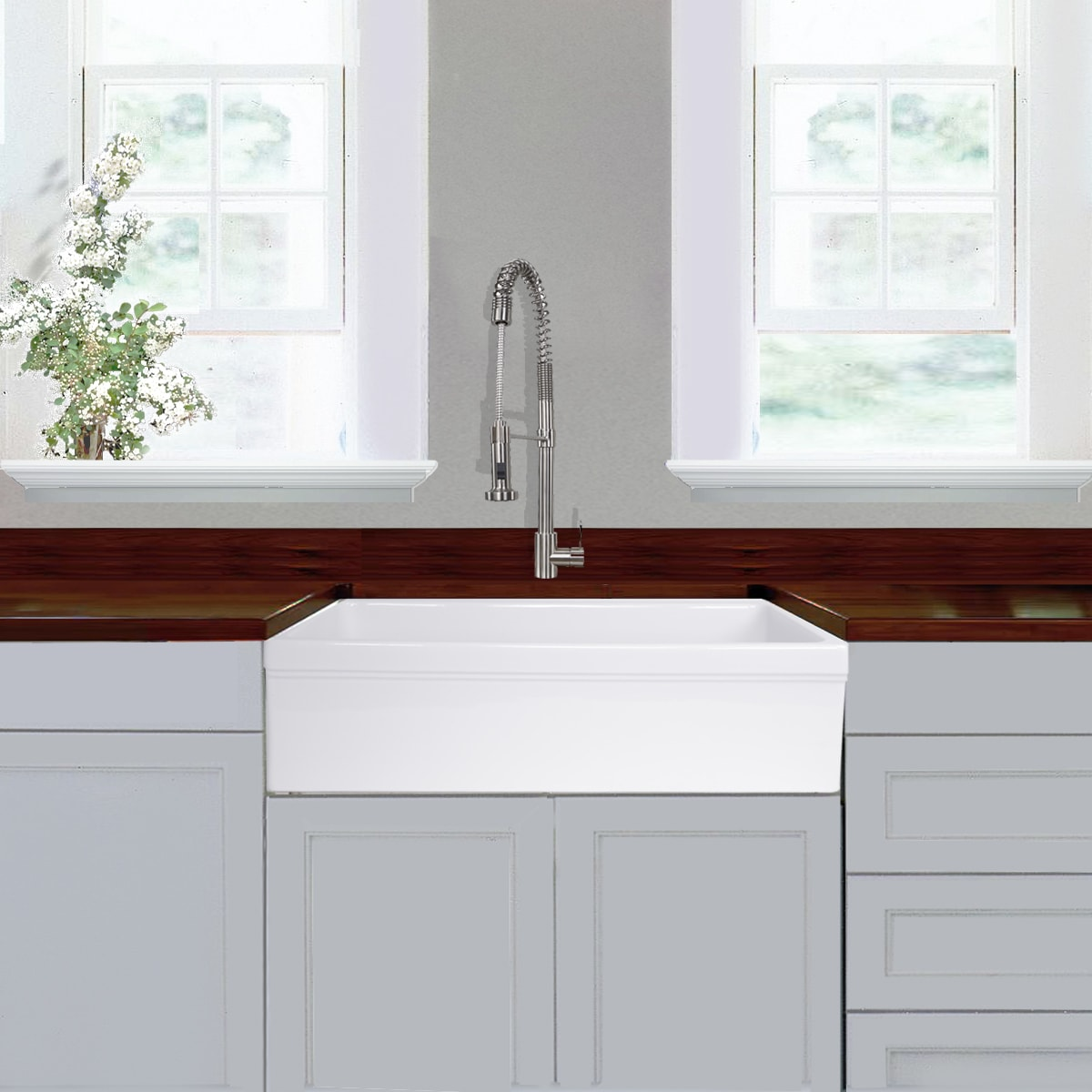 Highpoint Collection 36-inch Single Bowl Fireclay Farmhouse Kitchen ...