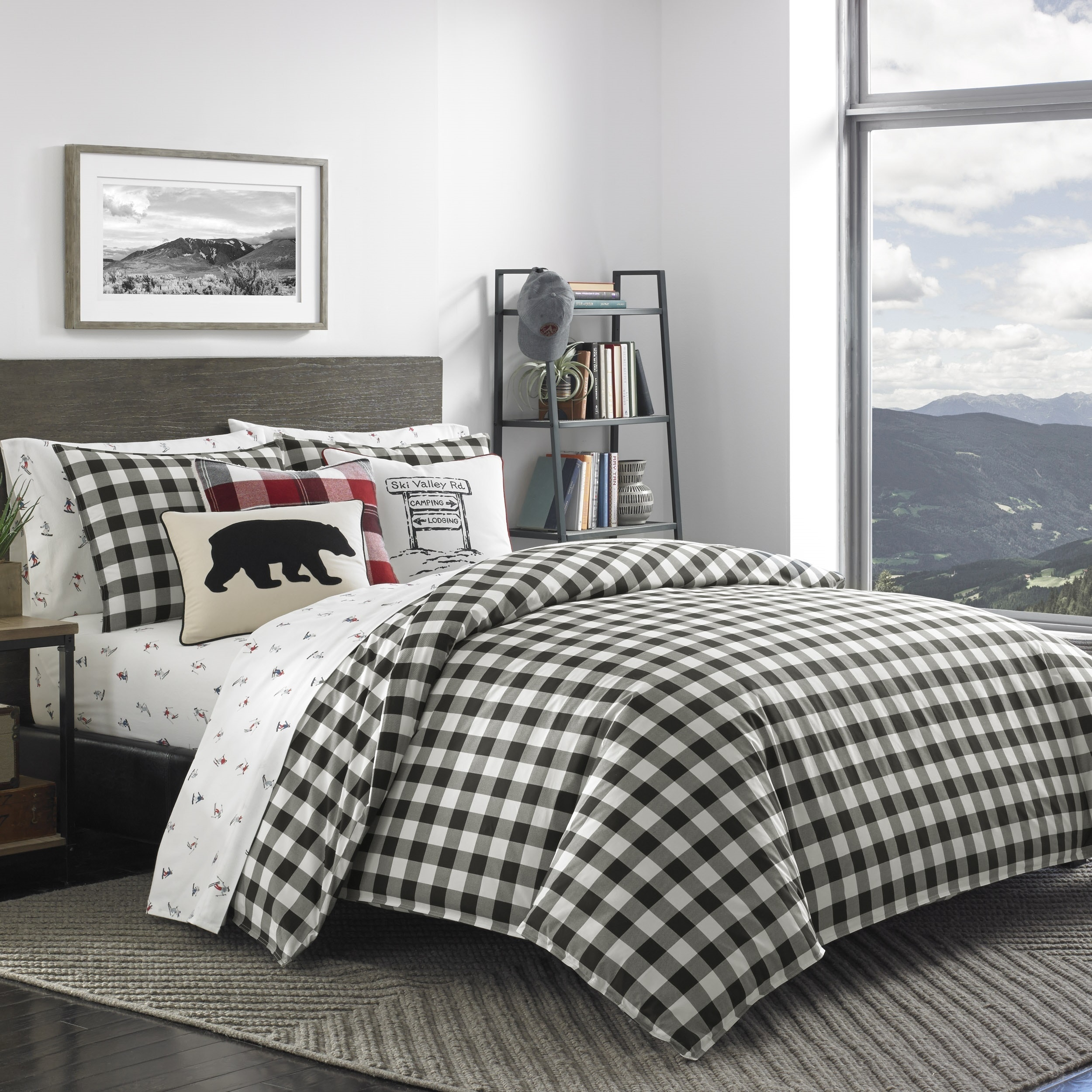 Shop eddie bauer mountain plaid black and off white duvet cover set on sale free shipping today overstock com 16900590