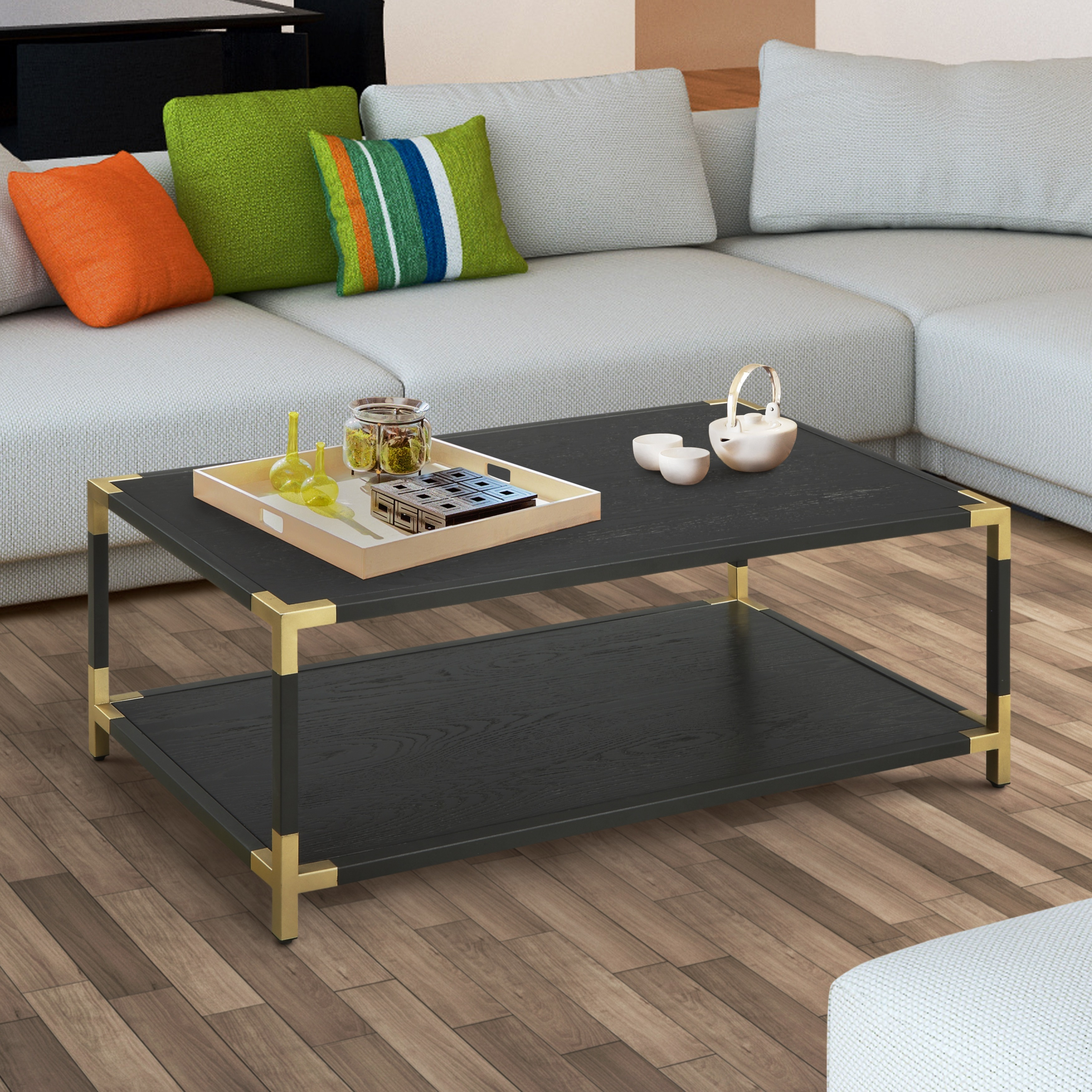 Shop furniture of america clera glam black and gold open coffee table on sale free shipping today overstock com 16906782
