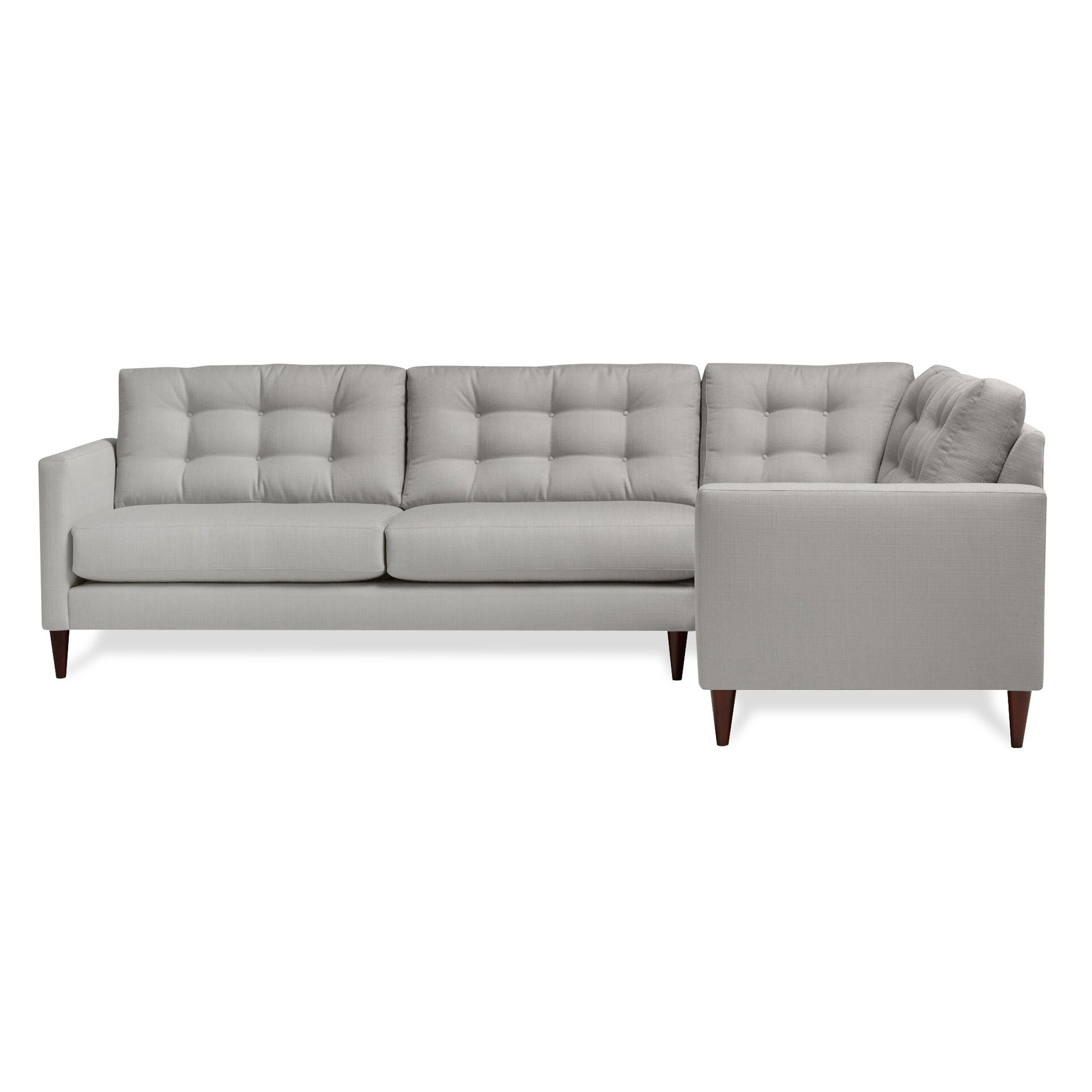 Harvard Mid Century Eco Friendly Fabric Right Facing Tufted Sectional Sofa Free Shipping Today 16915029