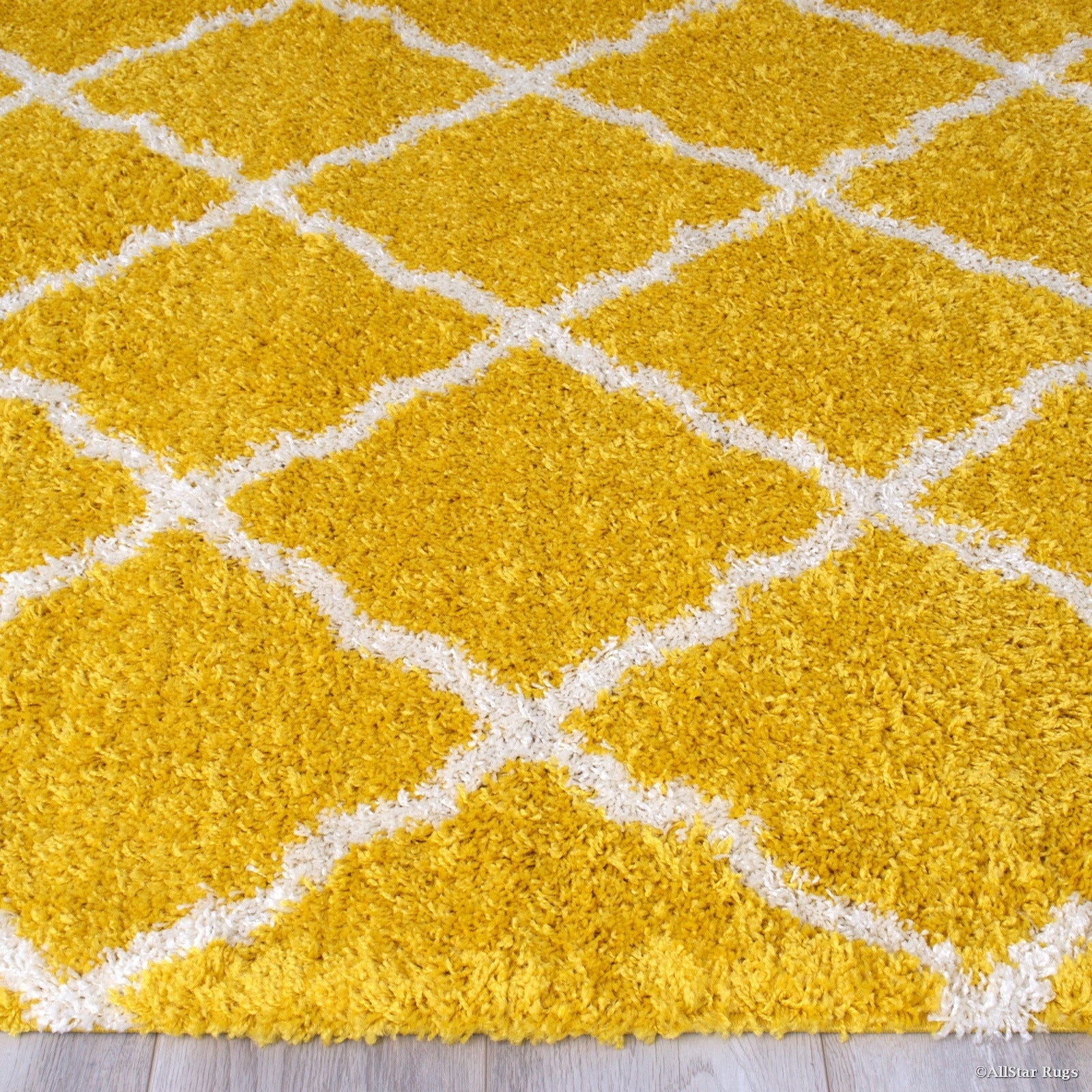 Shop Yellow White Modern High Pile Posh Shaggy Trellis Patterned Area Rug