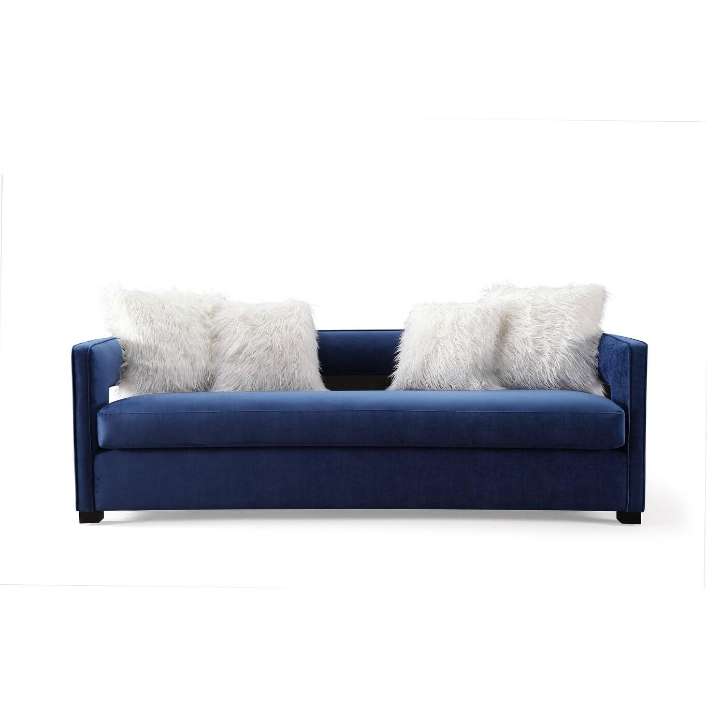 Shop kennedy navy velvet sofa set free shipping today overstock com 16915802