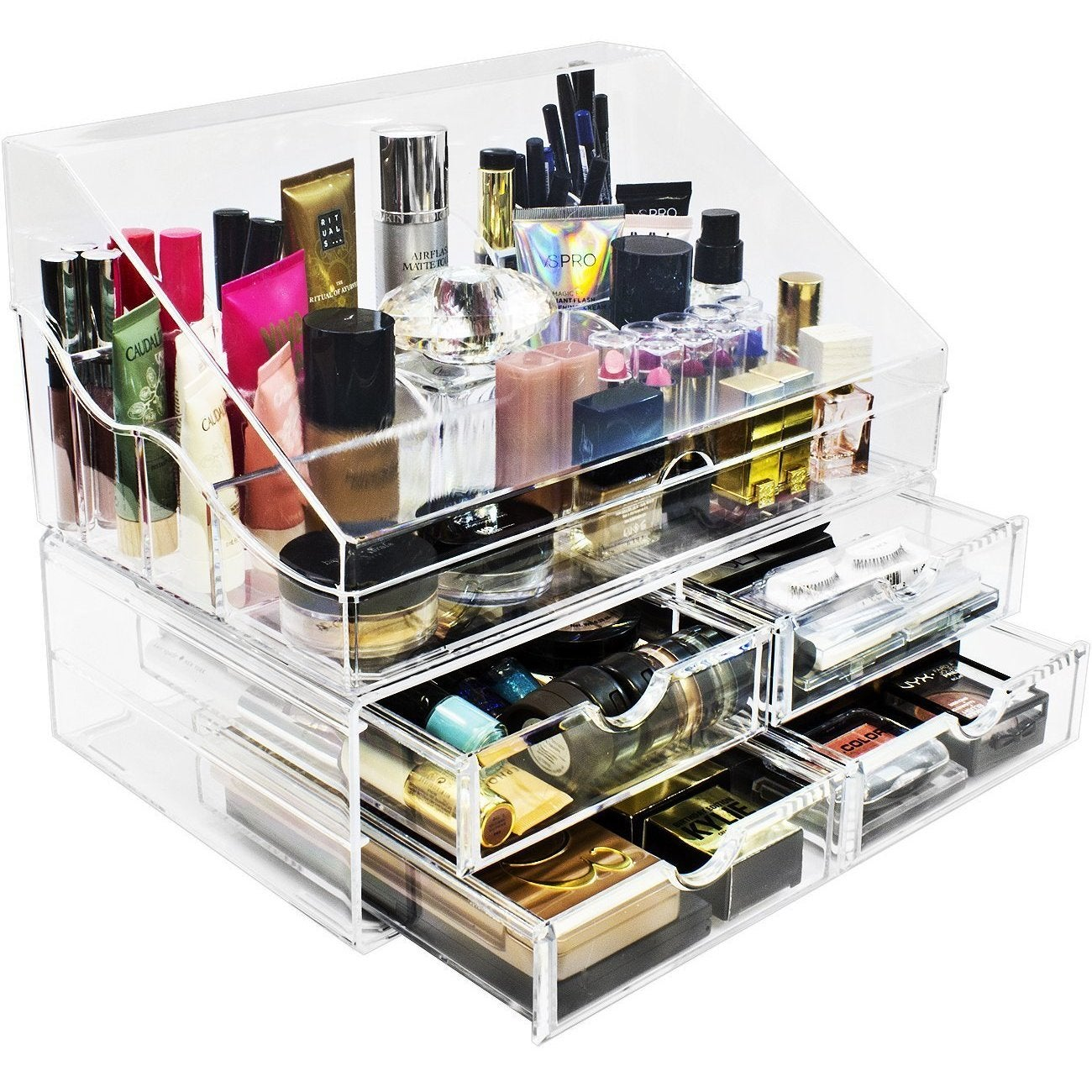 9cae83d867e Shop Sorbus Makeup Organizer Storage Case (Style 2 - Slanted Lid Sectional  Top with 4 Drawers) - Free Shipping Today - Overstock - 16915934