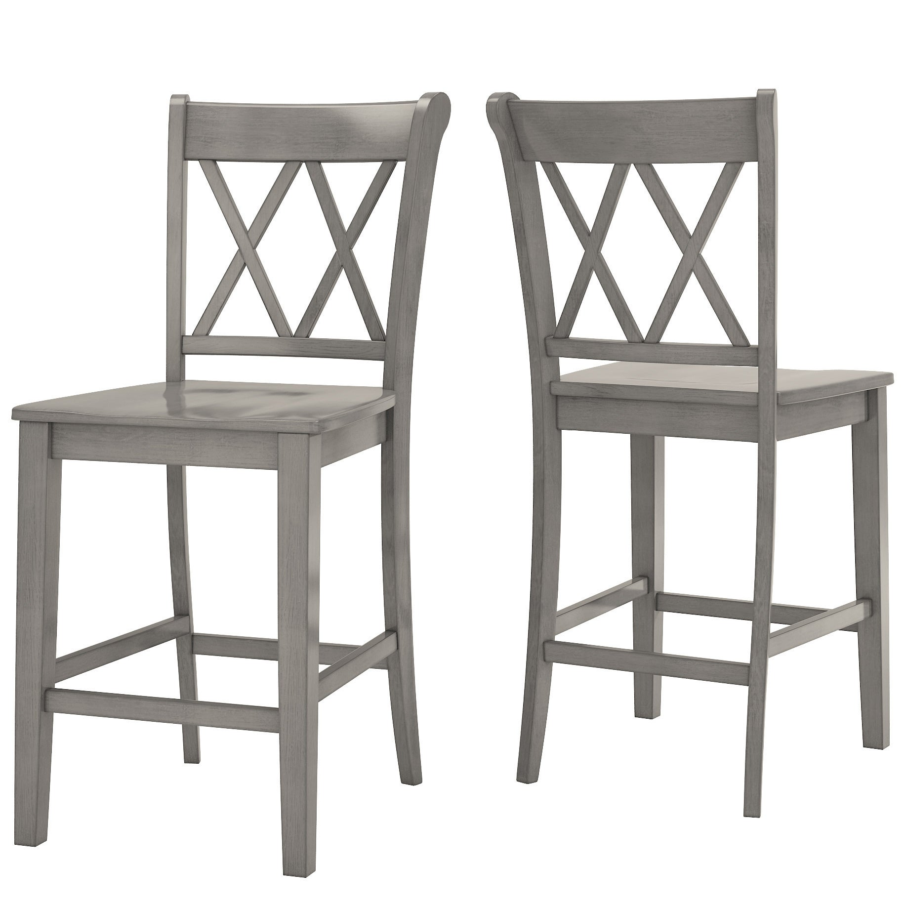 Shop Eleanor Double X Back Wood 24 Inch Counter Chair Set Of 2 By