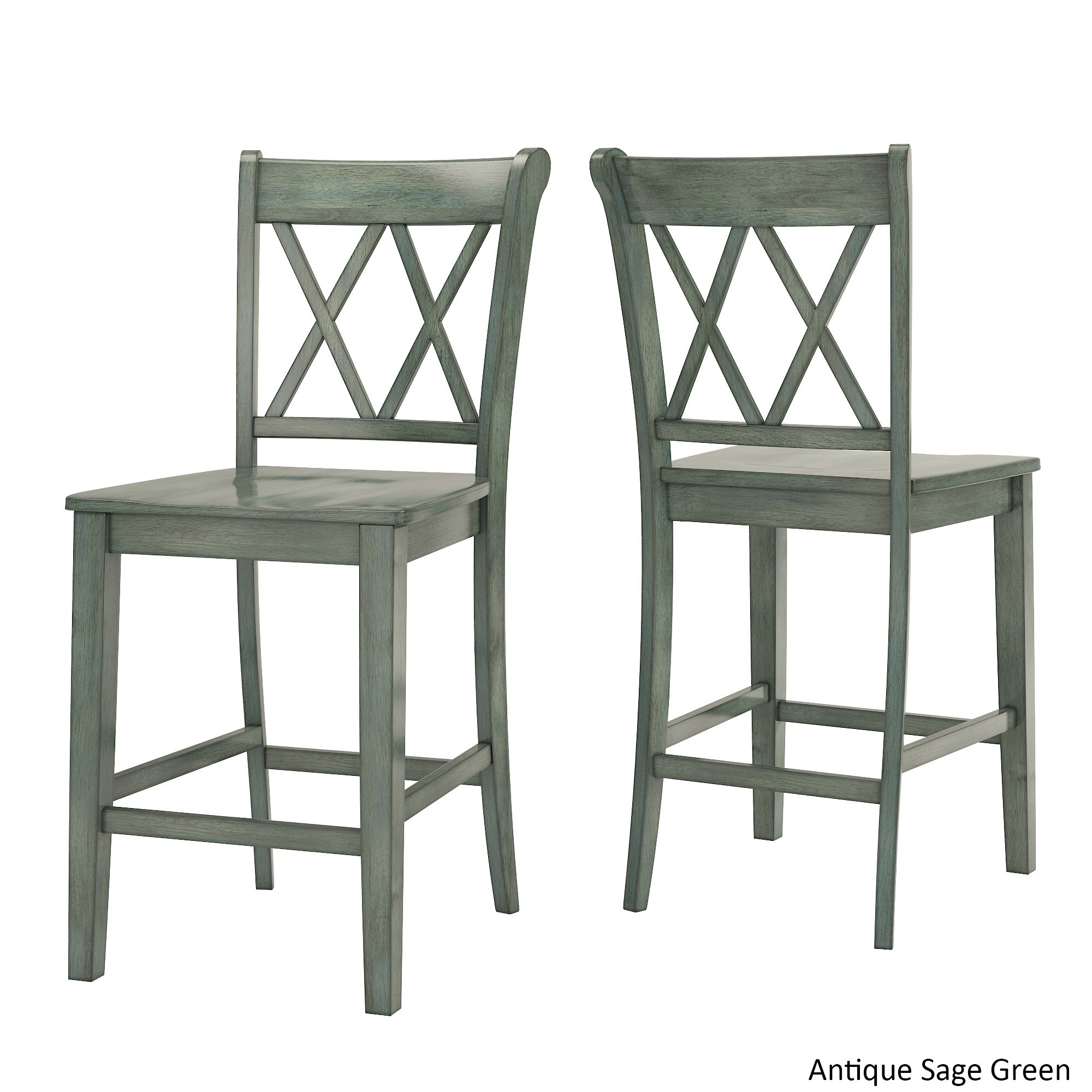 Shop eleanor double x back wood 24 inch counter chair set of 2 by inspire q classic on sale free shipping today overstock com 16916343