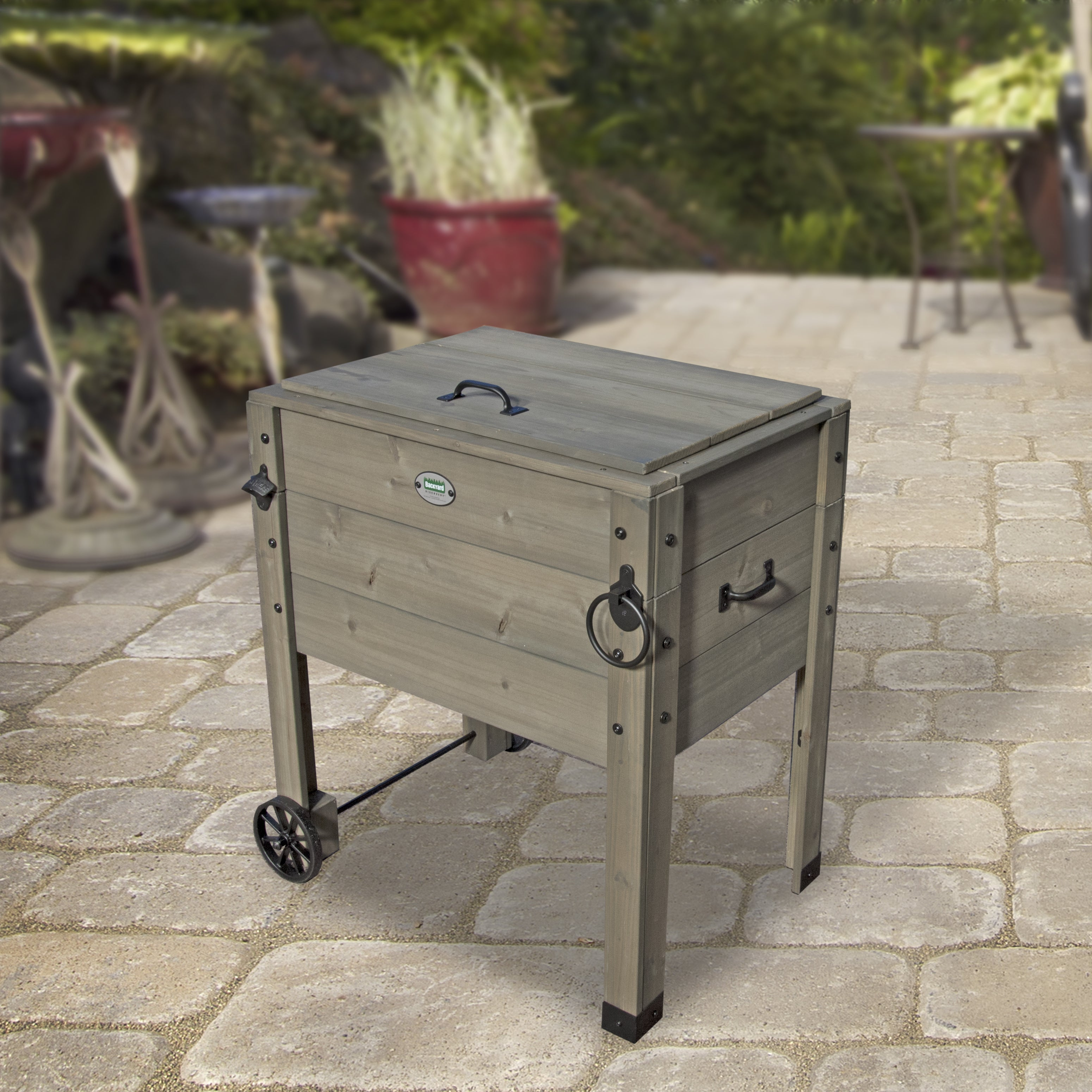 Backyard Discovery Barnwood Outdoor Patio Cooler Stand Free
