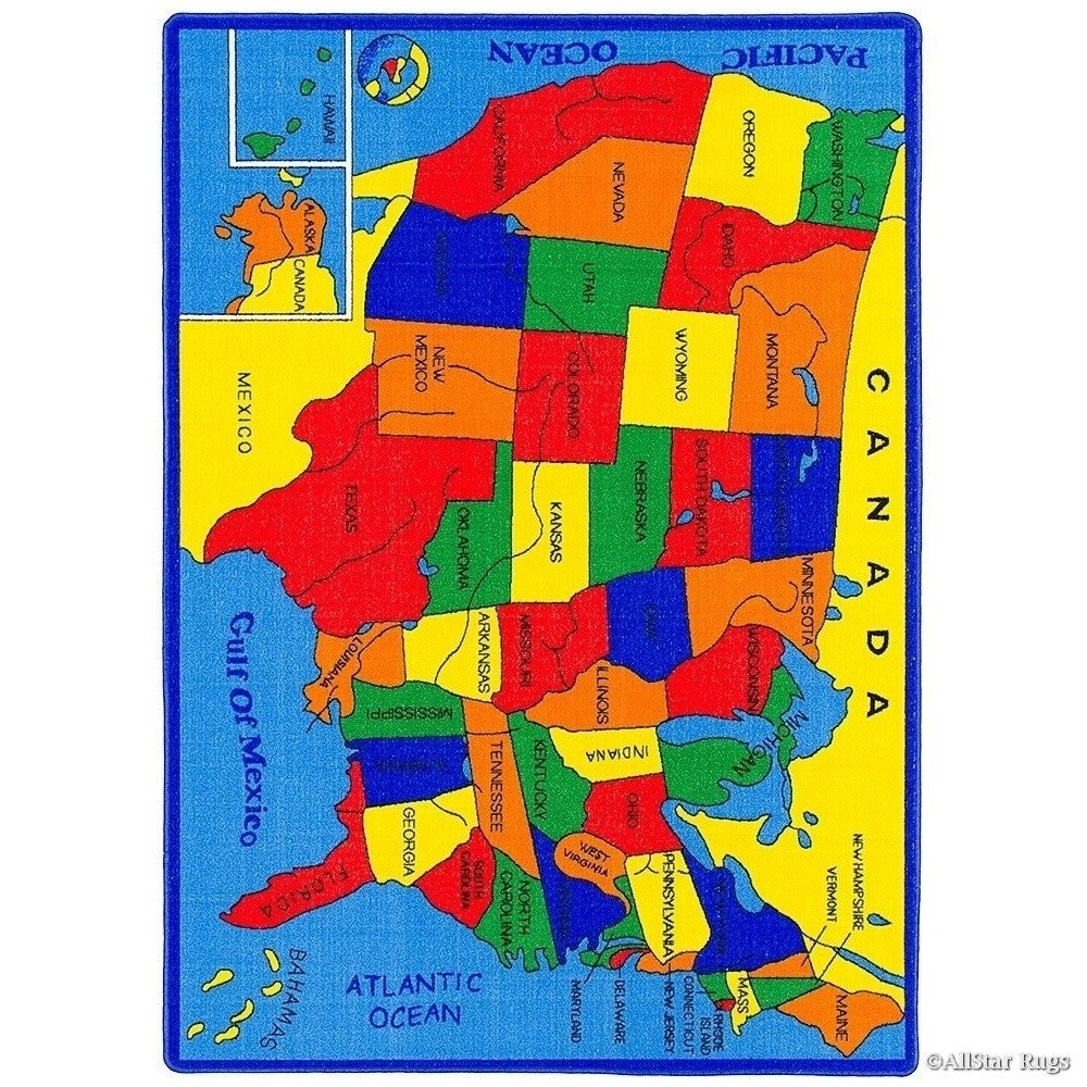Shop Allstar Kids Usa Map Fifty States Rug - Multi - Free Shipping ...