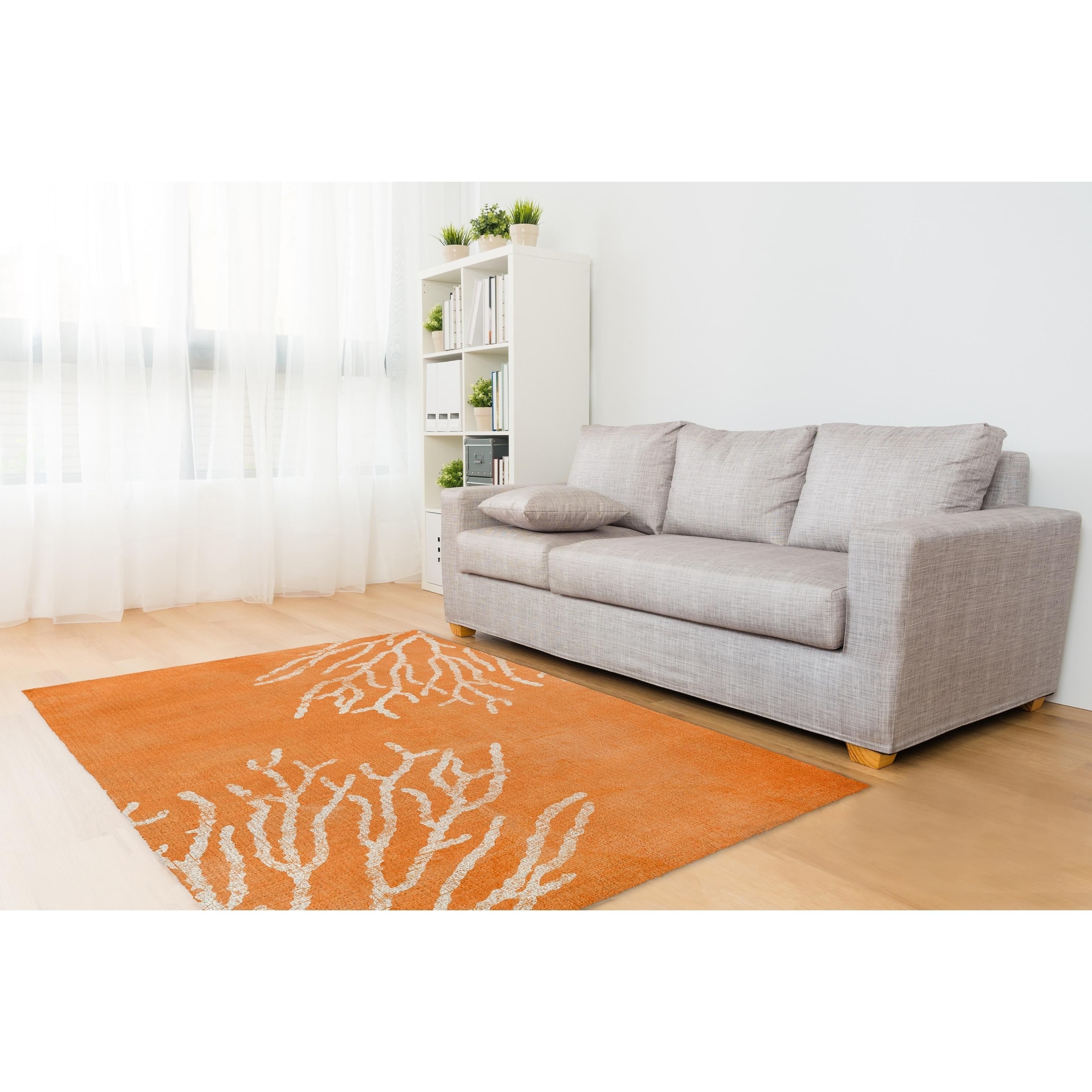 Shop Kavka Designs Sultana Orange/ White Area Rug (8\'X10\') - 8\' x 10 ...