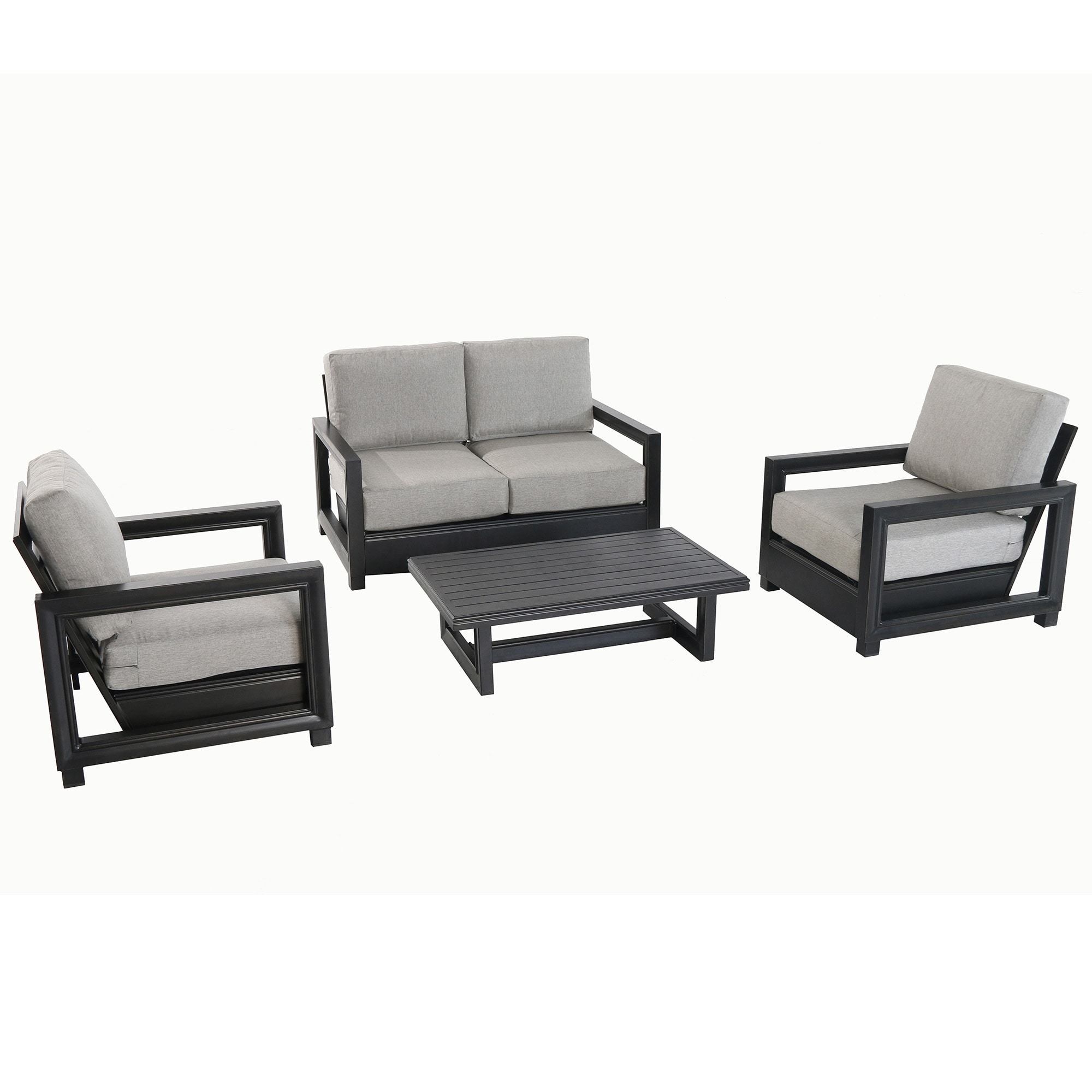 Russell Outdoor 4 Piece Seating Set with Loveseat Lounge Chairs