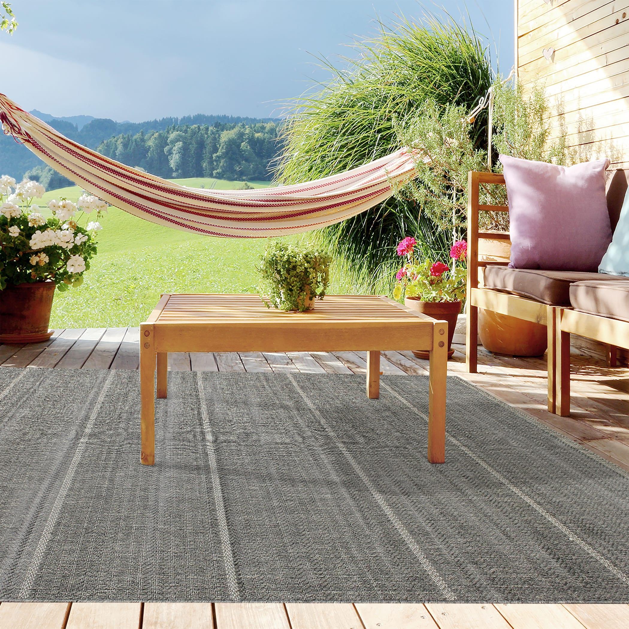 Alfresco Stripe Dark Grey Indoor Outdoor Rug 5 3 x 7 6 Free