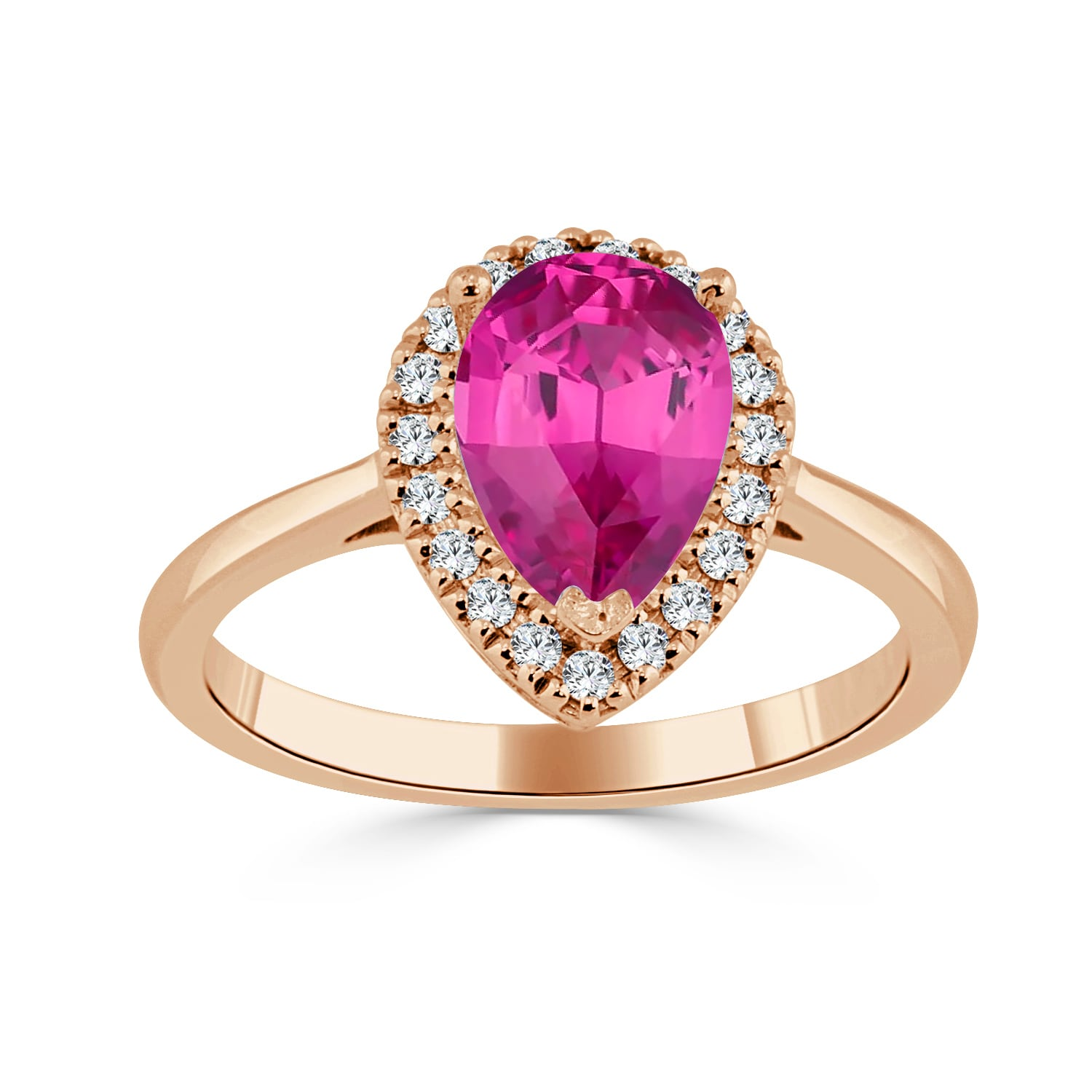 Shop Auriya 14k Gold 1 1/2ct Pear-Shaped Pink Sapphire and 1/6ct TDW ...