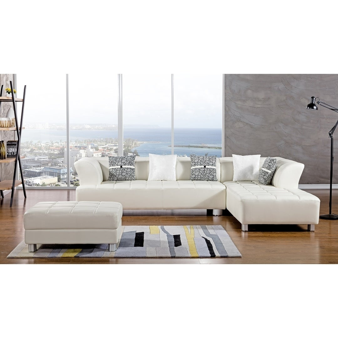 American Eagle Ivory Bonded Leather Living Room Sectional with ...