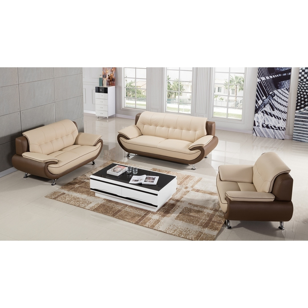 Shop American Eagle Modern Style Cream And Taupe Genuine Leather Sofa    Free Shipping Today   Overstock.com   16930869