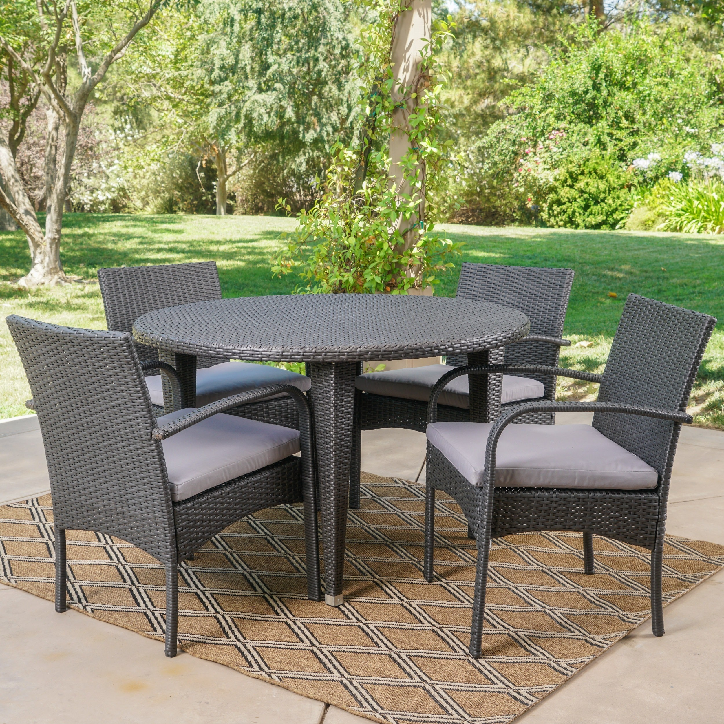 Marin Outdoor 5 Piece Round Dining Set With Cushions By Christopher Knight Home On Free Shipping Today 16932230