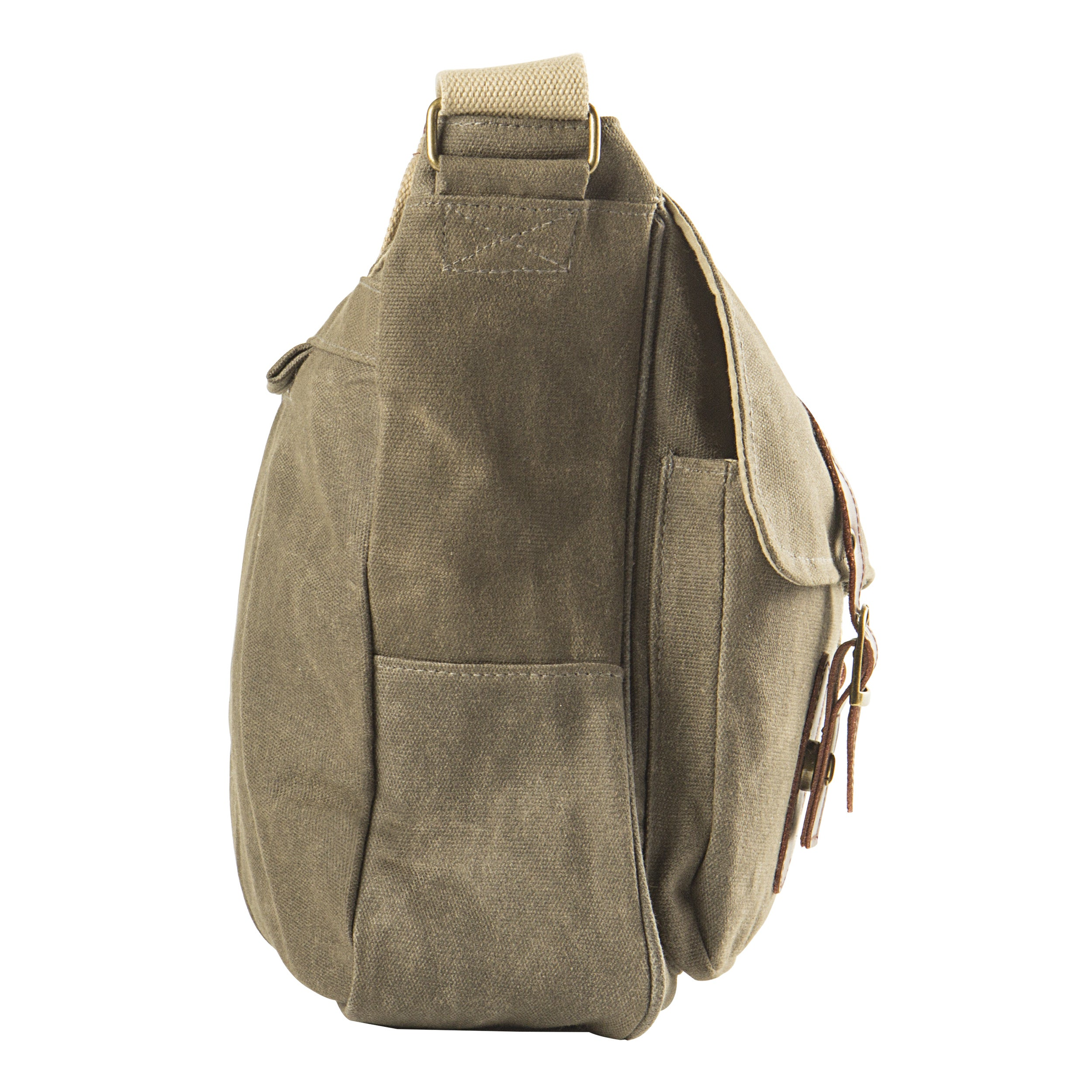Shop Personalized Men s Olive Green Waxed Canvas and Leather Messenger Bag  - Free Shipping Today - Overstock - 16934845 ba2f8103dcd06