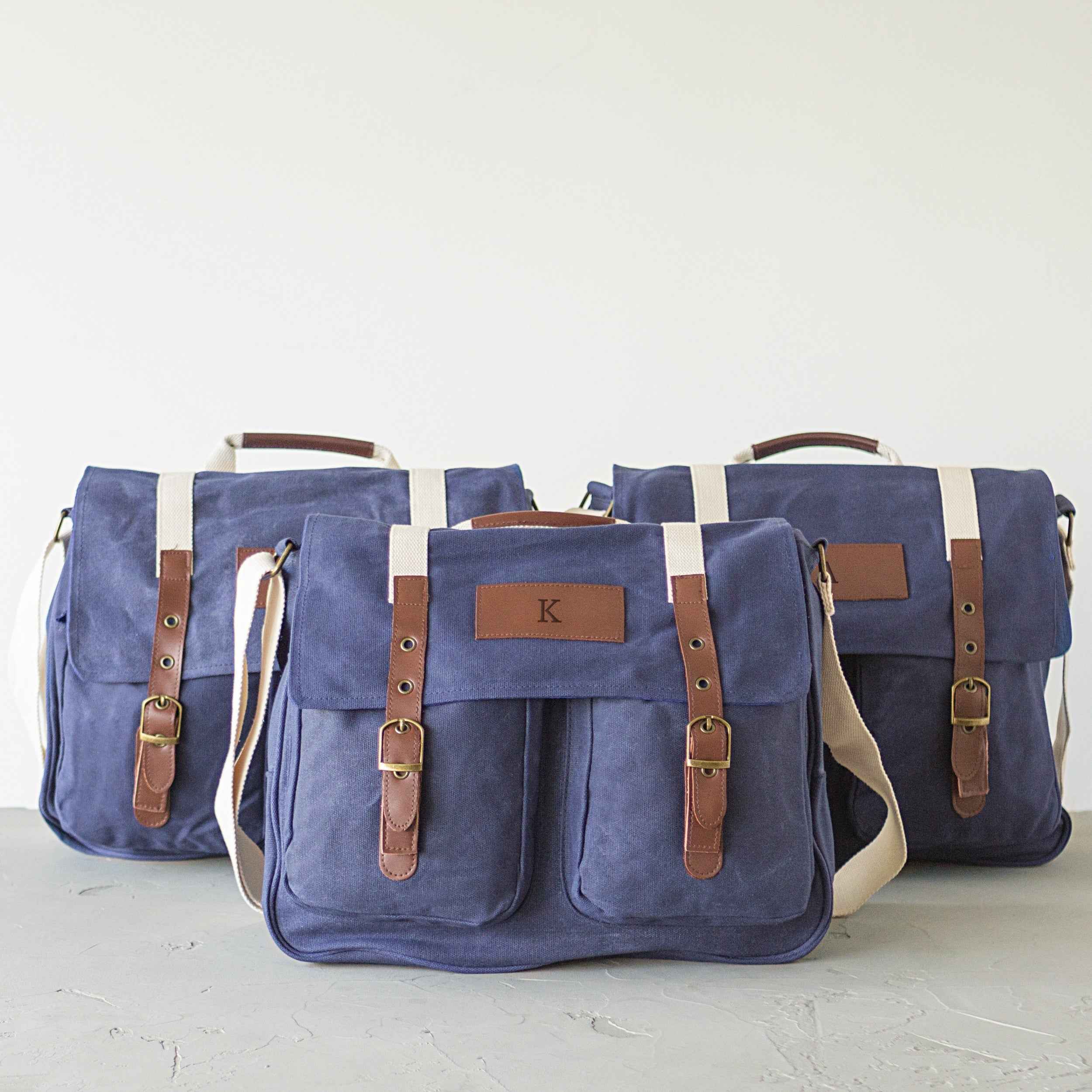 Personalized Navy Waxed Canvas And Leather Messenger Bag On Free Shipping Today 16934846