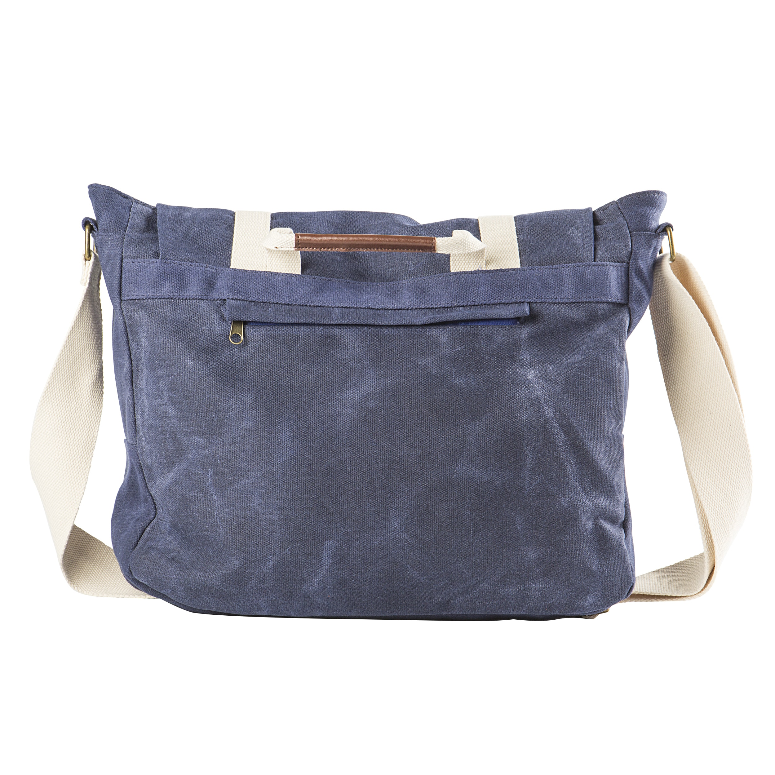 Personalized Navy Waxed Canvas And Leather Messenger Bag Free Shipping Today 23224319