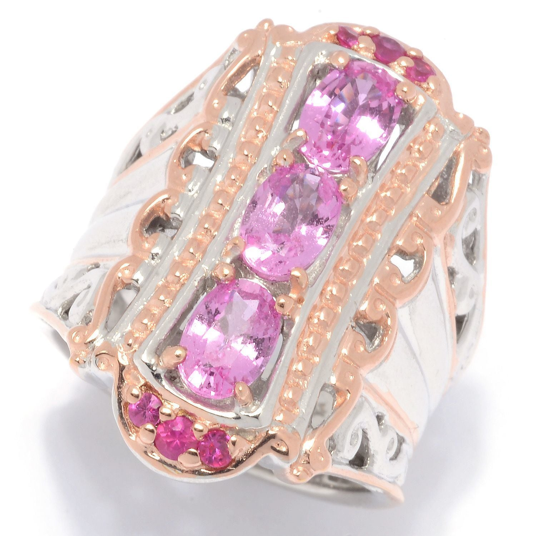 Michael Valitutti Palladium Silver Multi Pink Sapphire Elongated ...