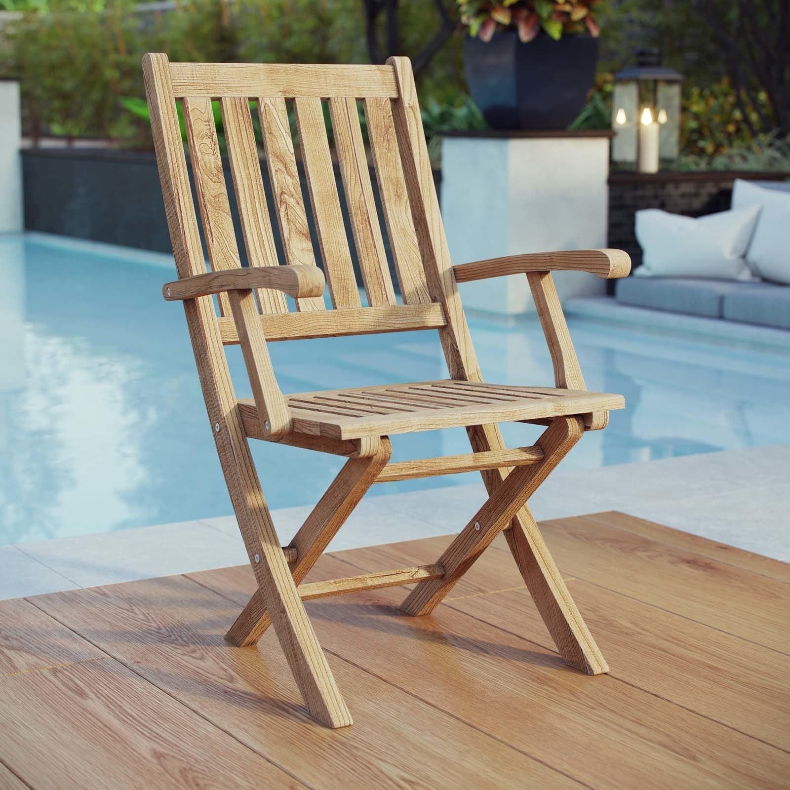 Shop Marina Outdoor Patio Teak Folding Chair - Free Shipping Today ...