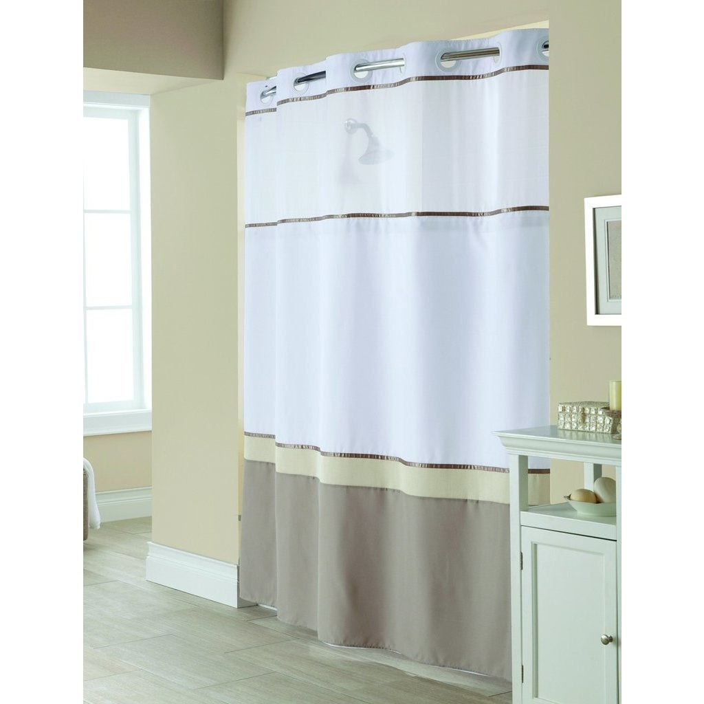 Shop Hookless Windsor Colorblock Shower Curtain with Snap-On Liner ...