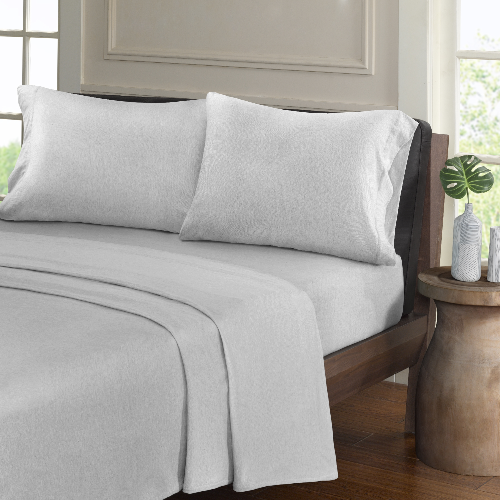 Shop Urban Habitat Heathered Cotton Jersey Knit Sheet Set   Free Shipping  On Orders Over $45   Overstock.com   16936159