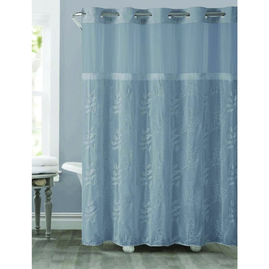 Shop Hookless Palm Leaves Shower Curtain with Snap-On Liner - Free ...