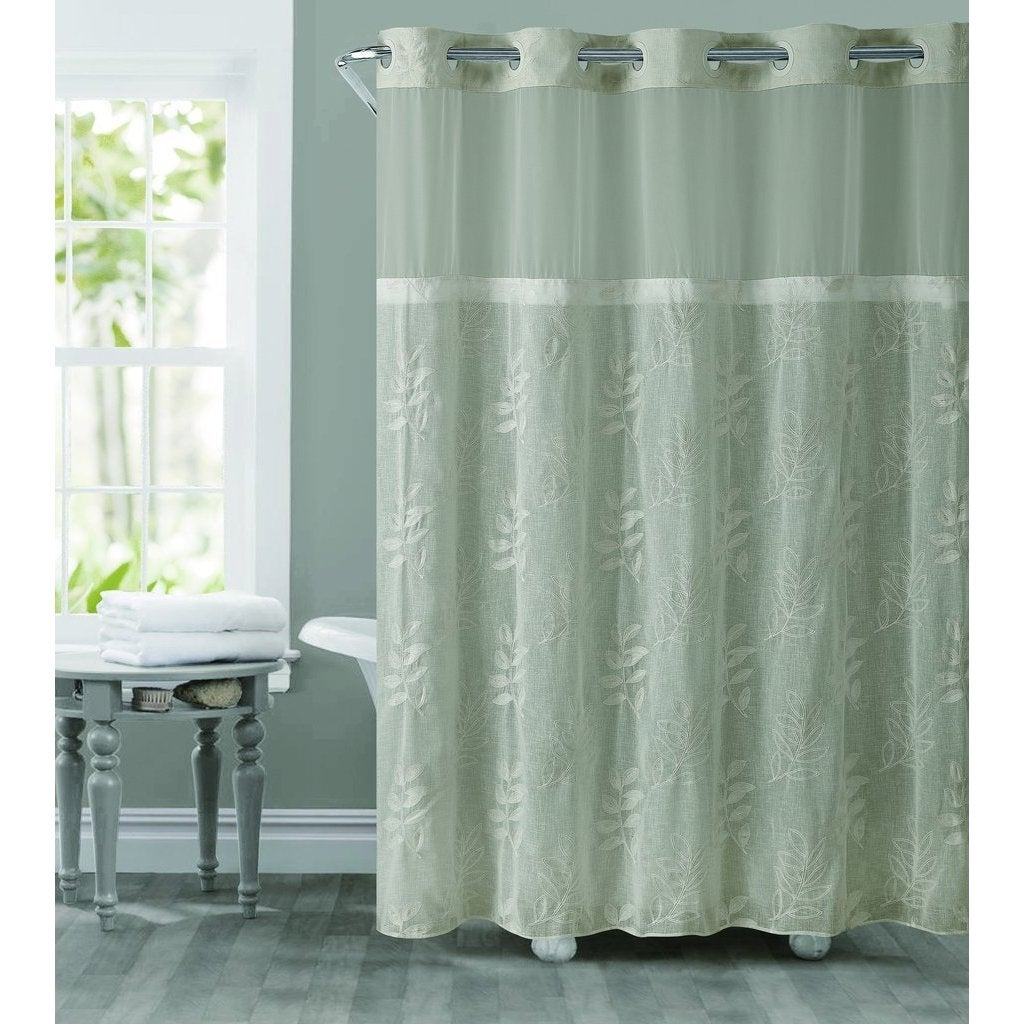 Shop Hookless Palm Leaves Shower Curtain With Snap On Liner