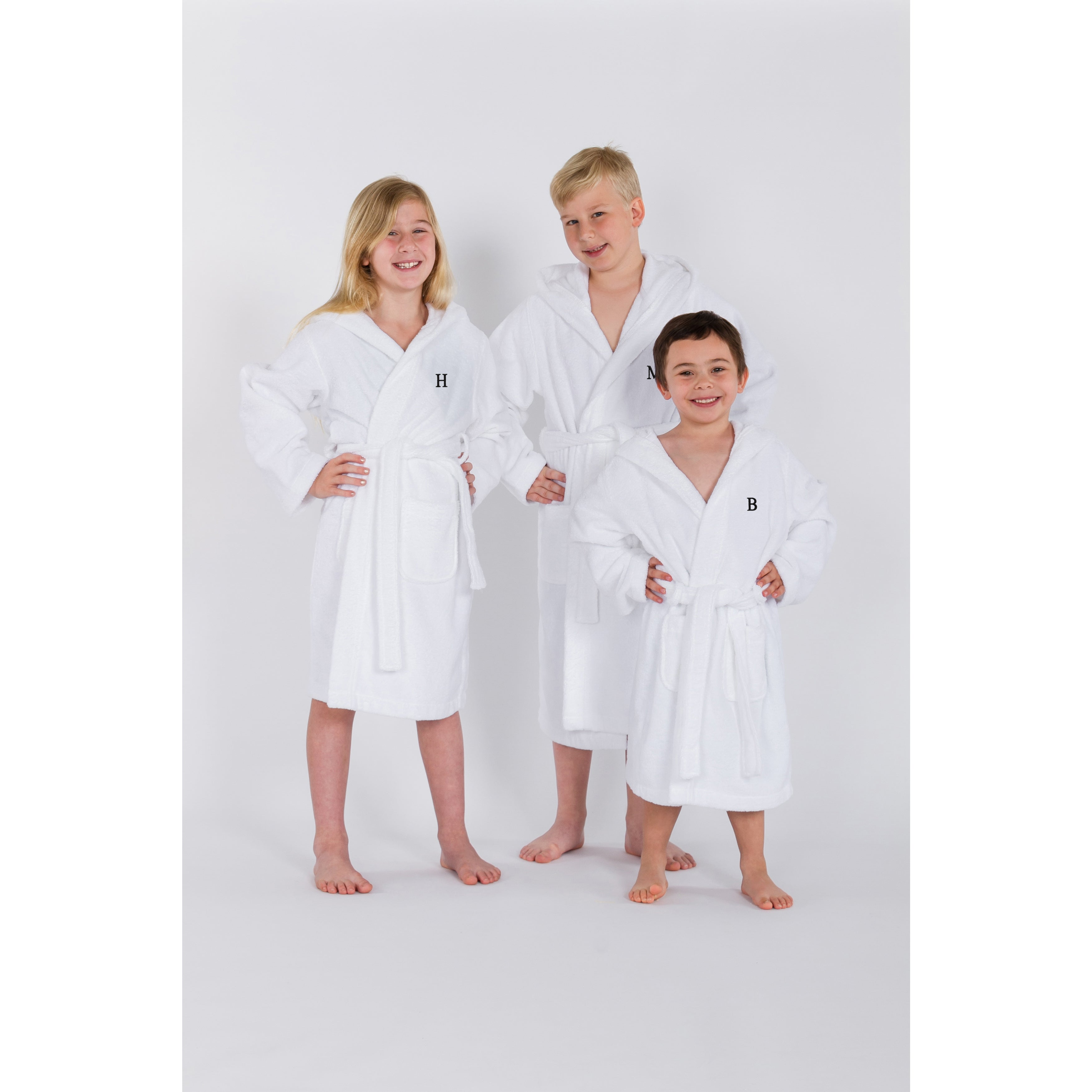 309055055 Shop Sweet Kids Turkish Cotton Terry White with Black Block Monogram Hooded  Bathrobe - Free Shipping Today - Overstock - 16936186