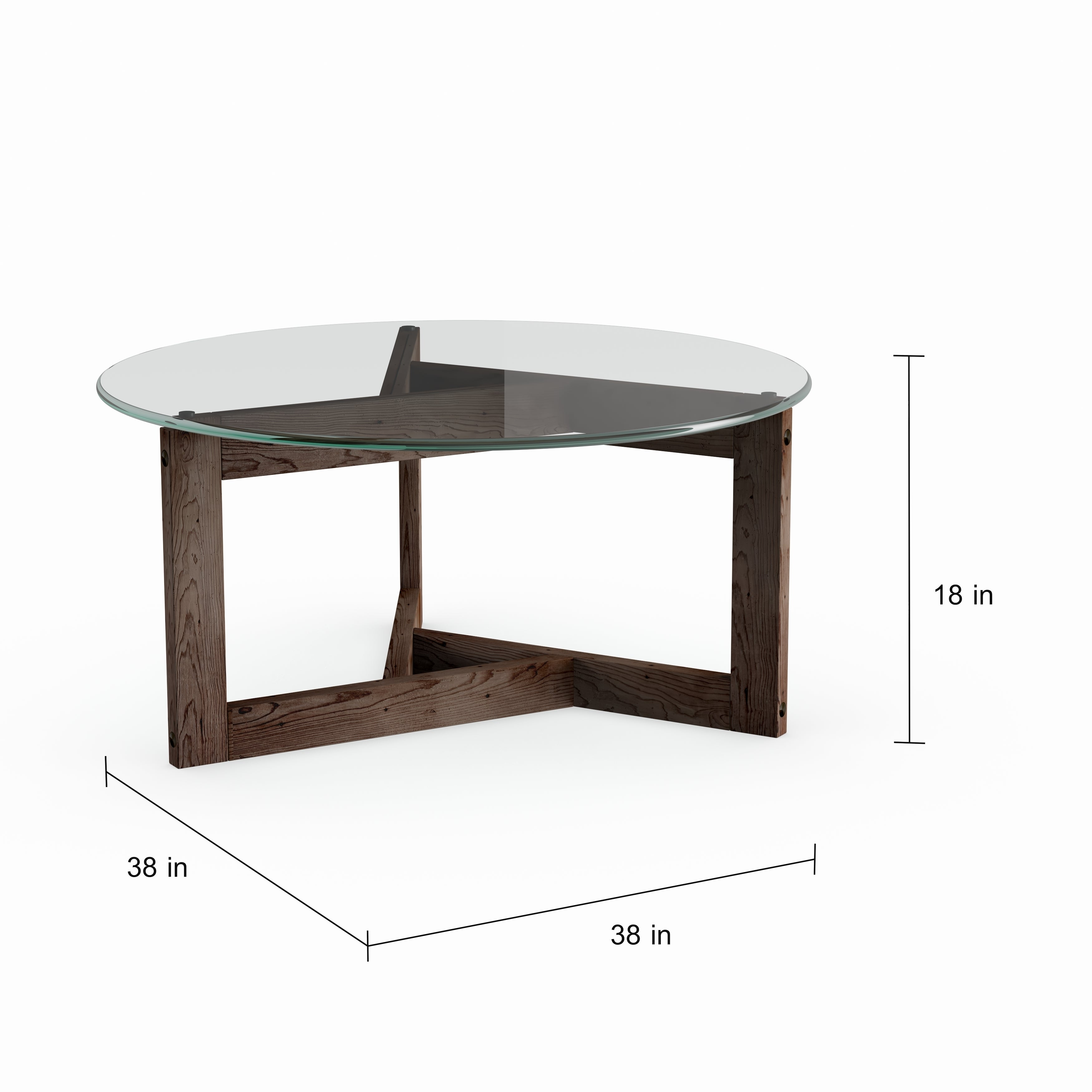 Shop beck modern dark chocolate reclaimed wood round coffee table free shipping today overstock com 16939904