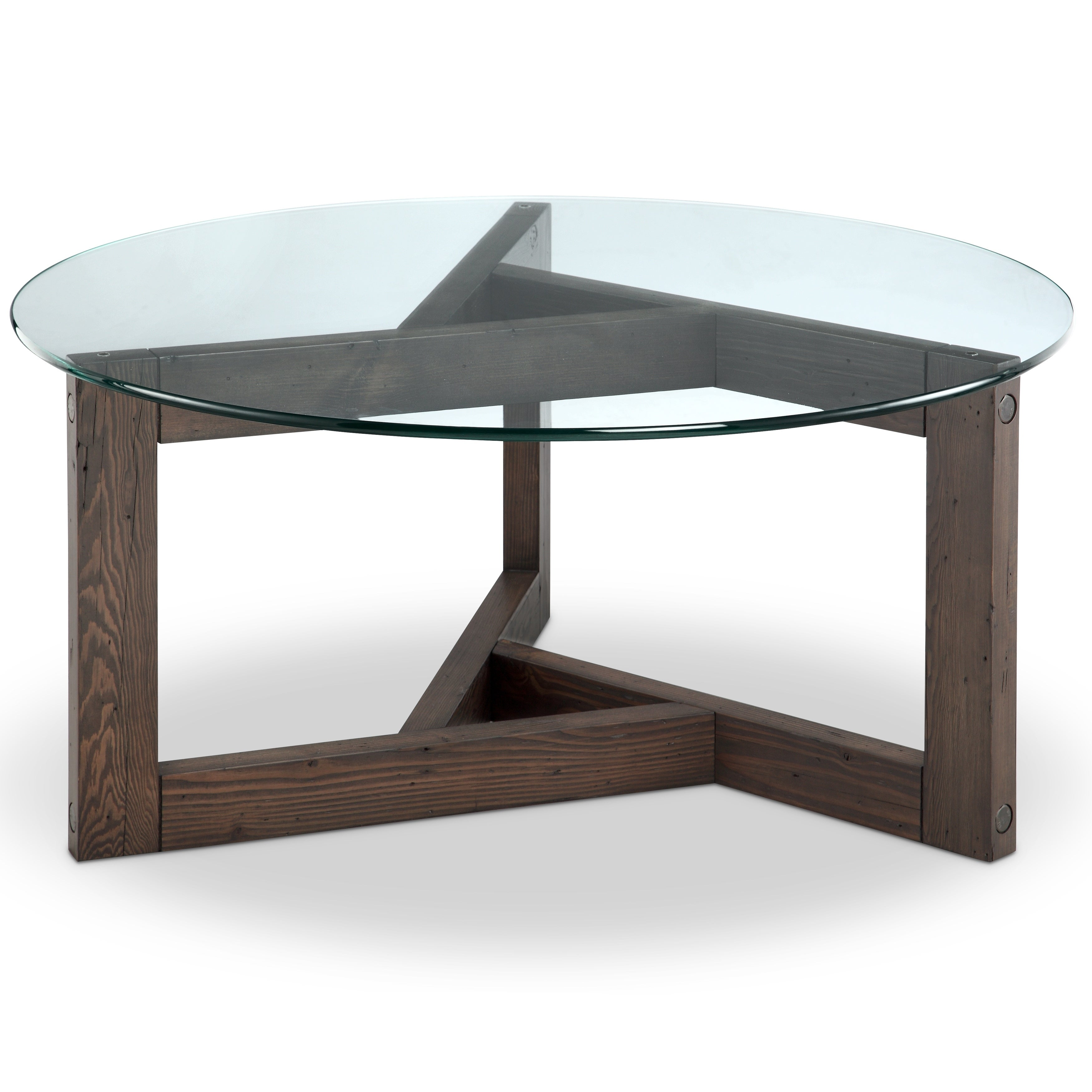 Beck Modern Dark Chocolate Reclaimed Wood Round Coffee Table