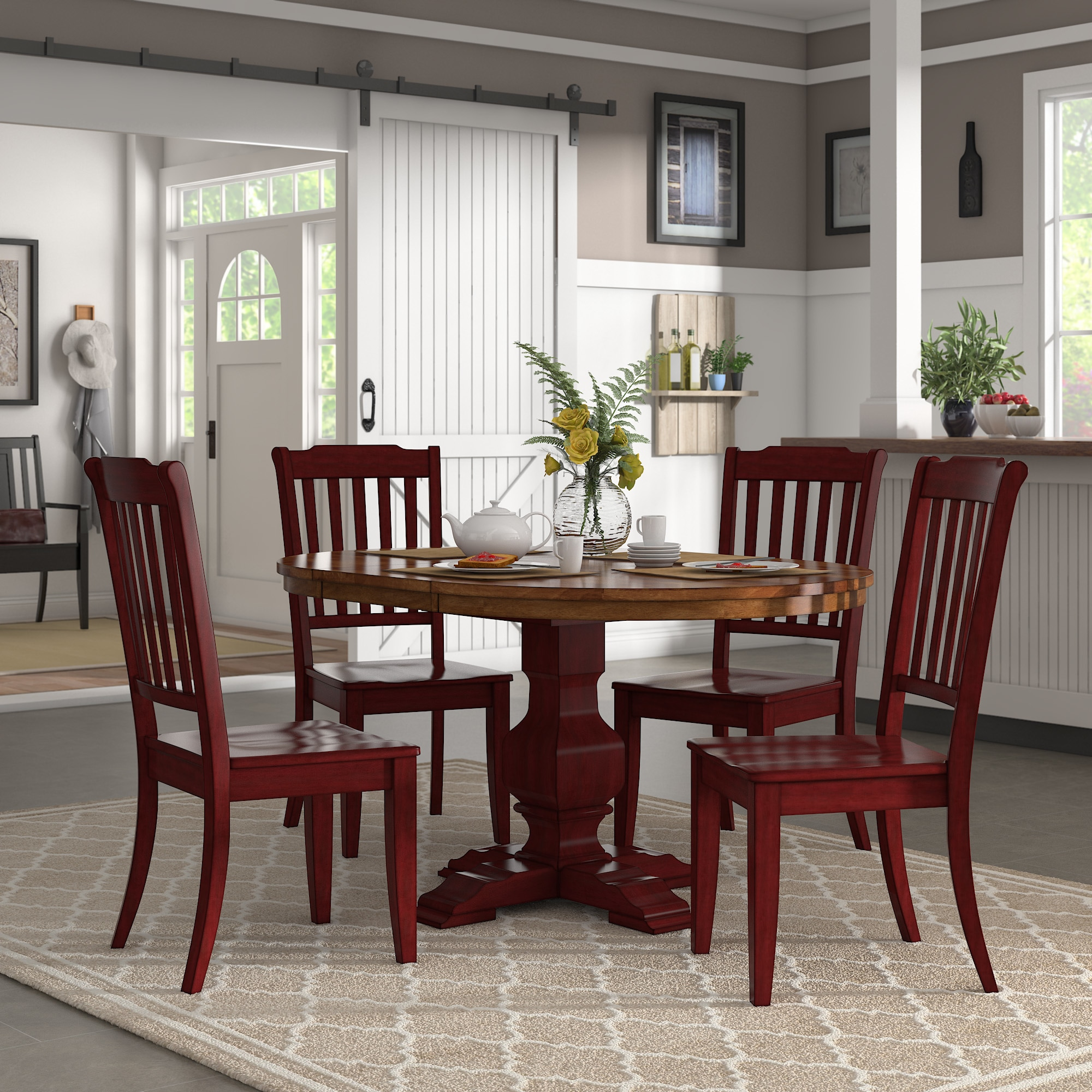 Eleanor berry red extending oval wood table slat back 5 piece dining set by inspire q classic