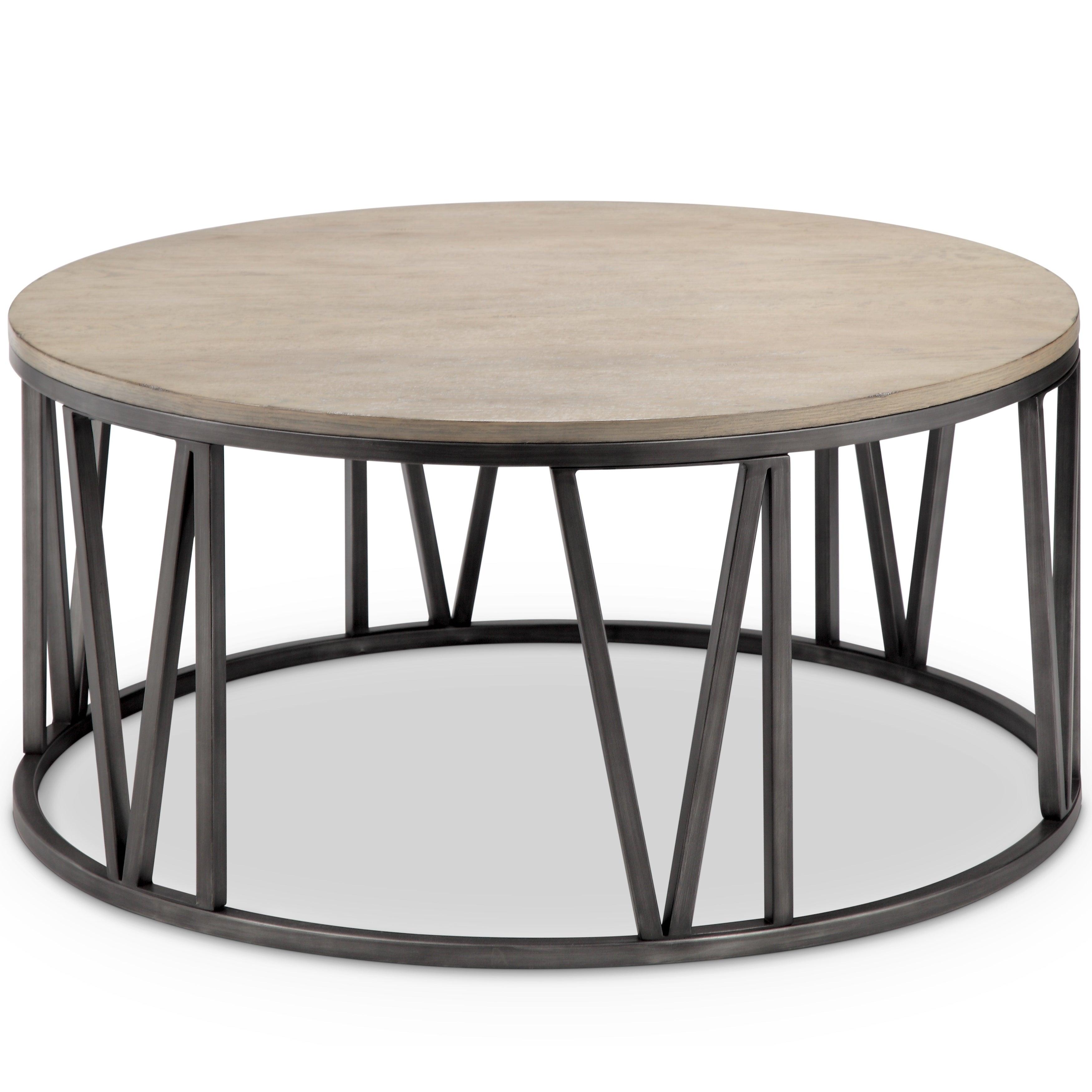 Avalon Modern Weathered White Oak Round Coffee Table Free
