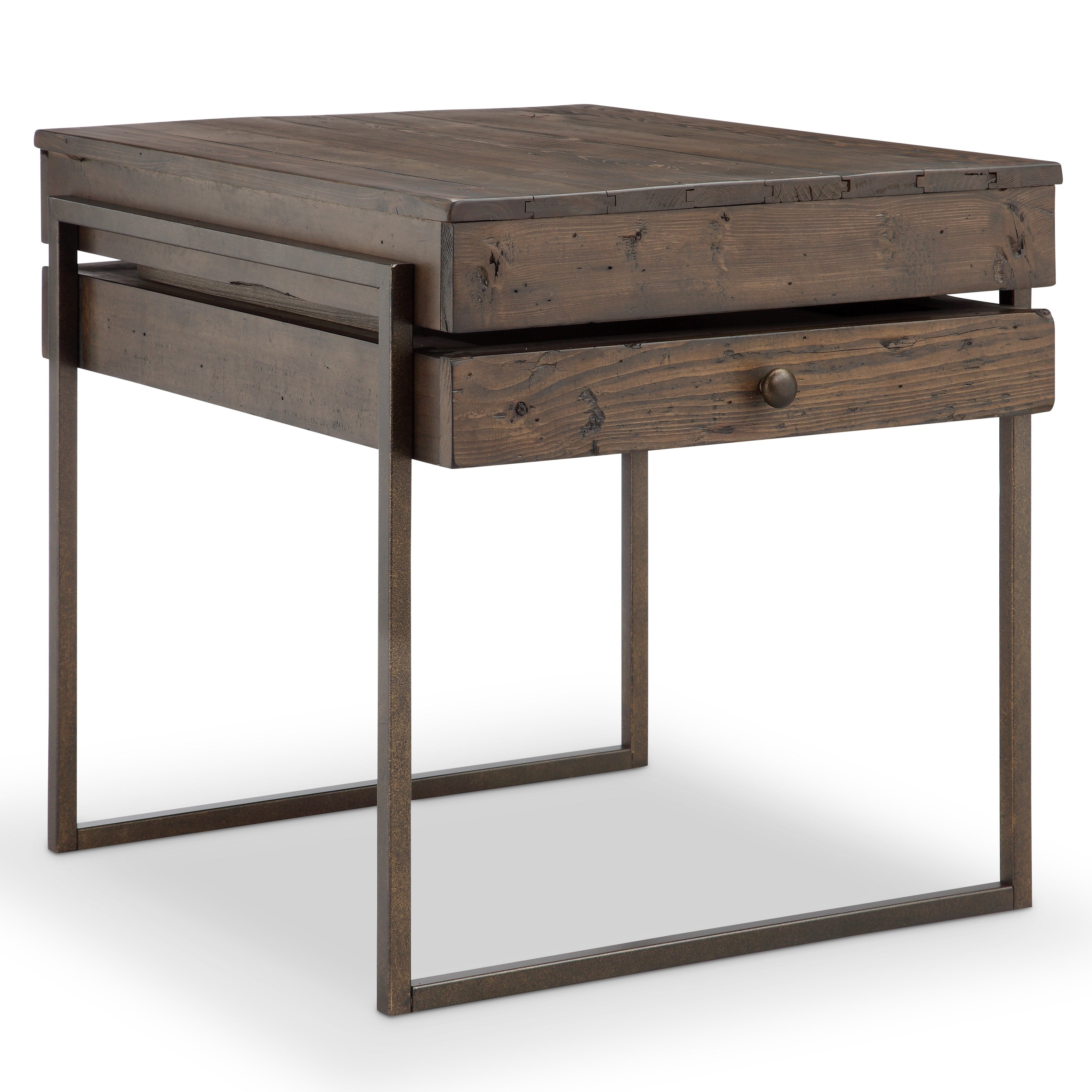 Shop Kirkwood Modern Rustic Dark Whiskey Reclaimed Wood End Table   Free  Shipping Today   Overstock.com   16940068
