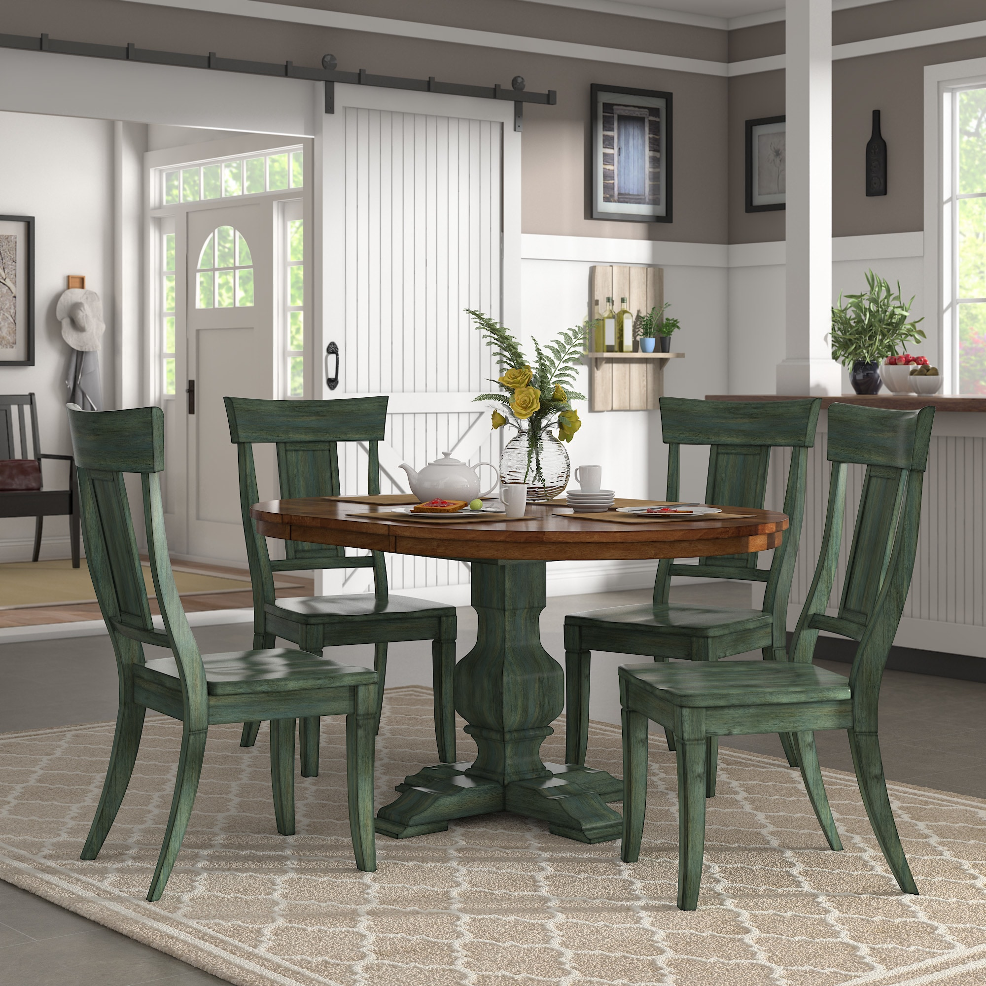 Eleanor Sage Green Extending Oval Wood Table Panel Back 5 Piece Dining Set By Inspire Q Classic Overstock 16940137