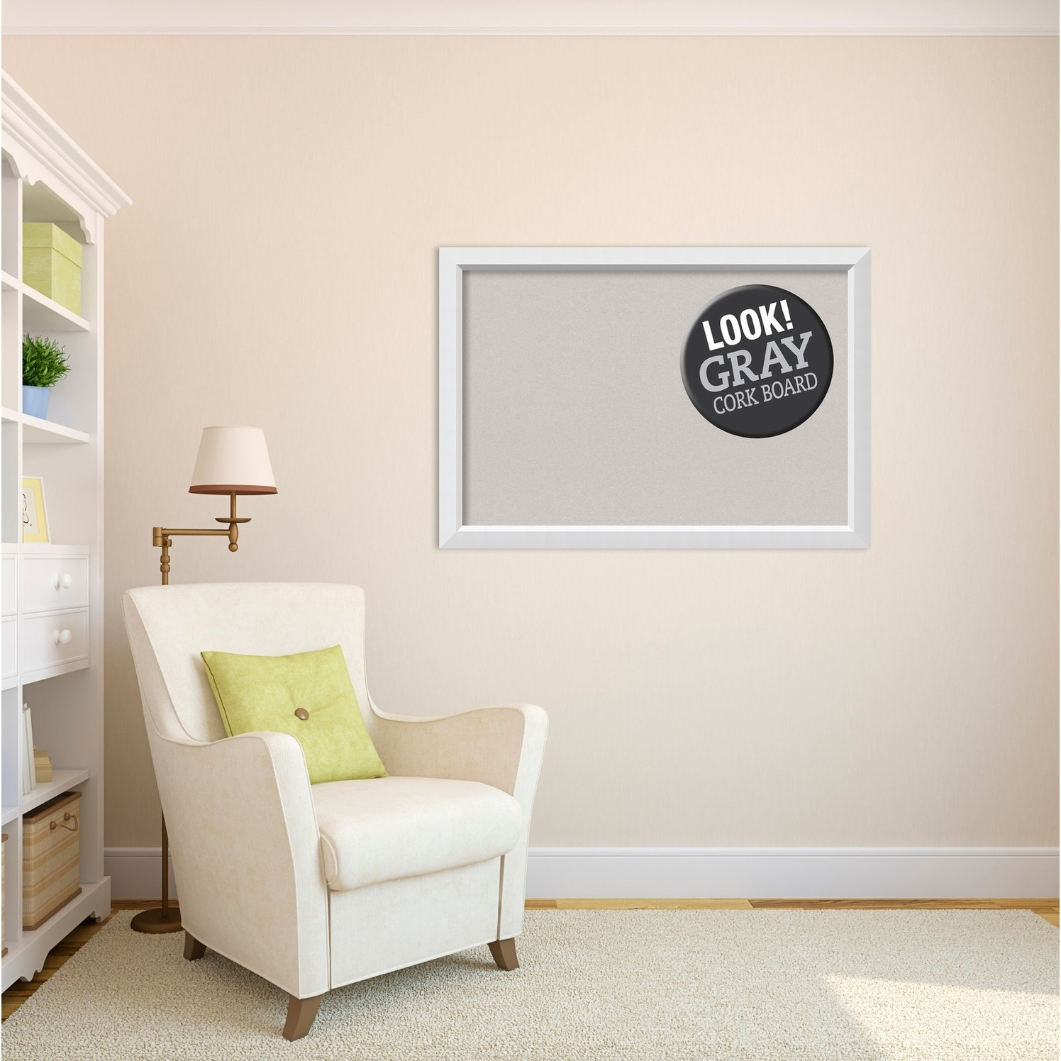 Shop Framed Grey Cork Board, Blanco White - Free Shipping Today ...