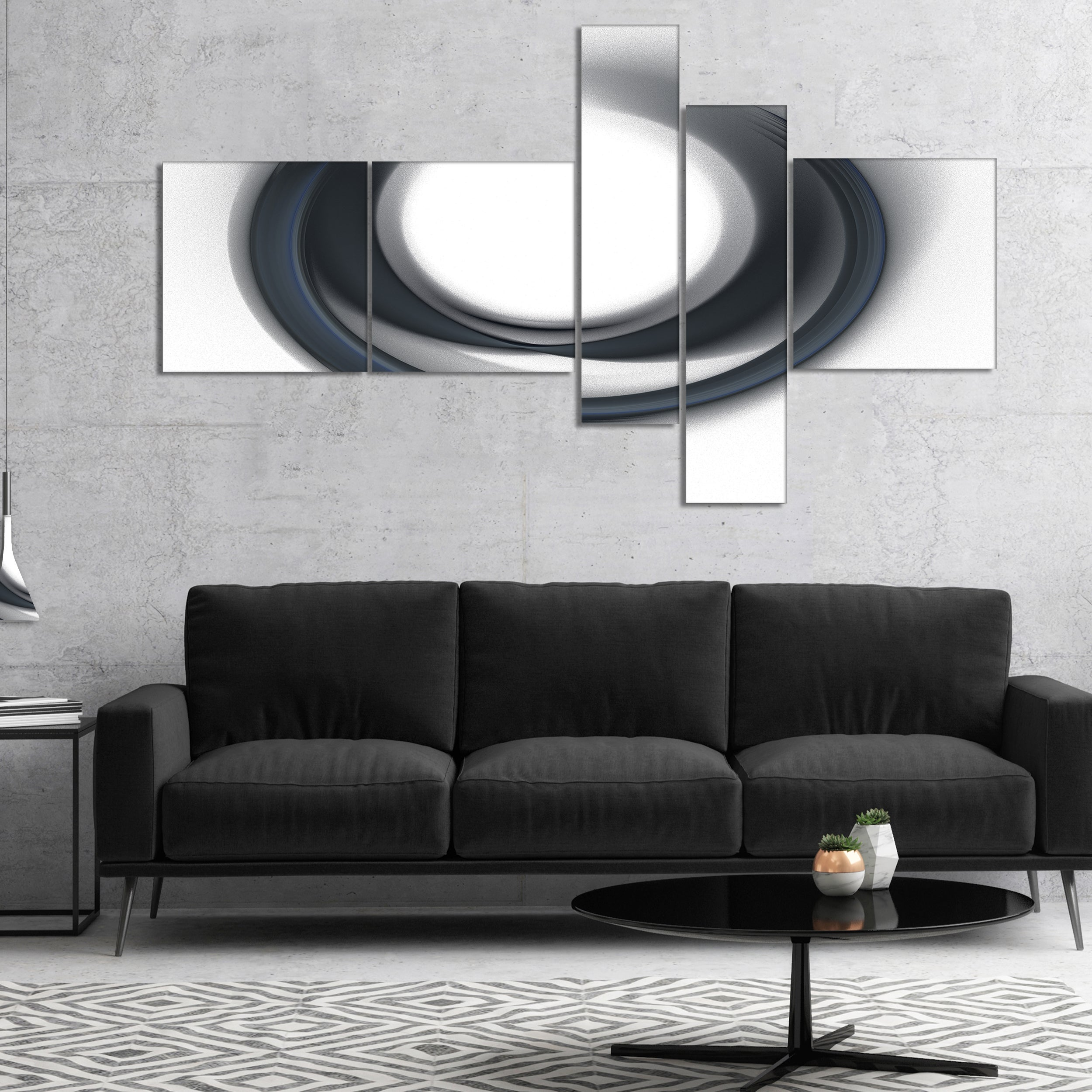 Shop Designart \'Large Fractal Black Circle on White\' Abstract Wall ...