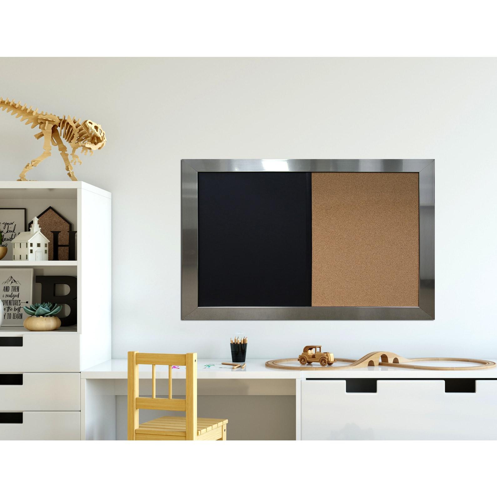 Shop Stainless Steel Framed Chalkboard Corkboard Combo Ready to Hang ...