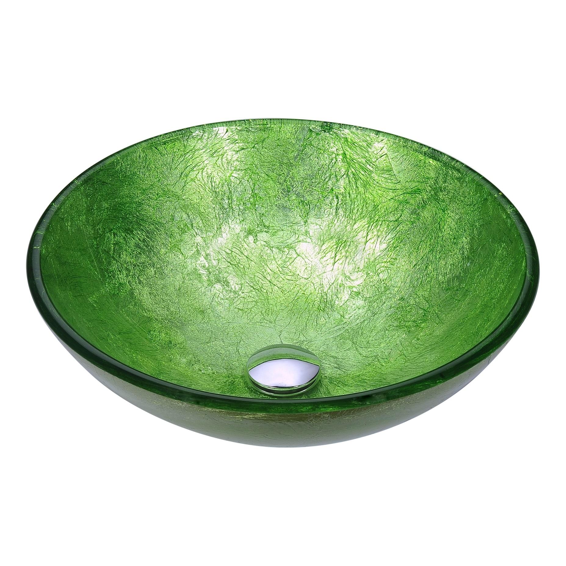 Shop Anzzi Posh Series Deco Glass Vessel Sink In Golden Green Free