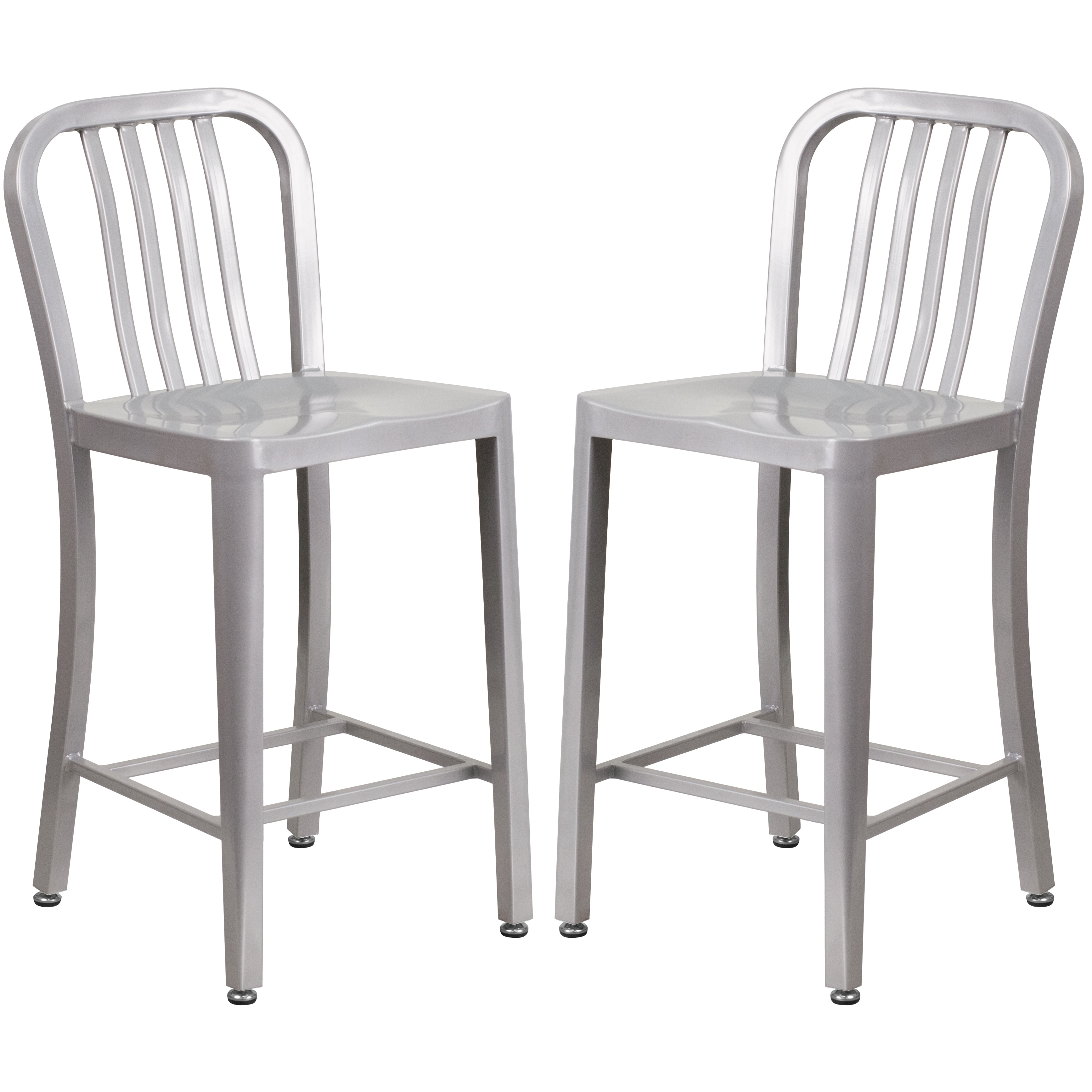 Veronica Slat Back Design Silver Metal Counter Stools Free Shipping Today 16958256