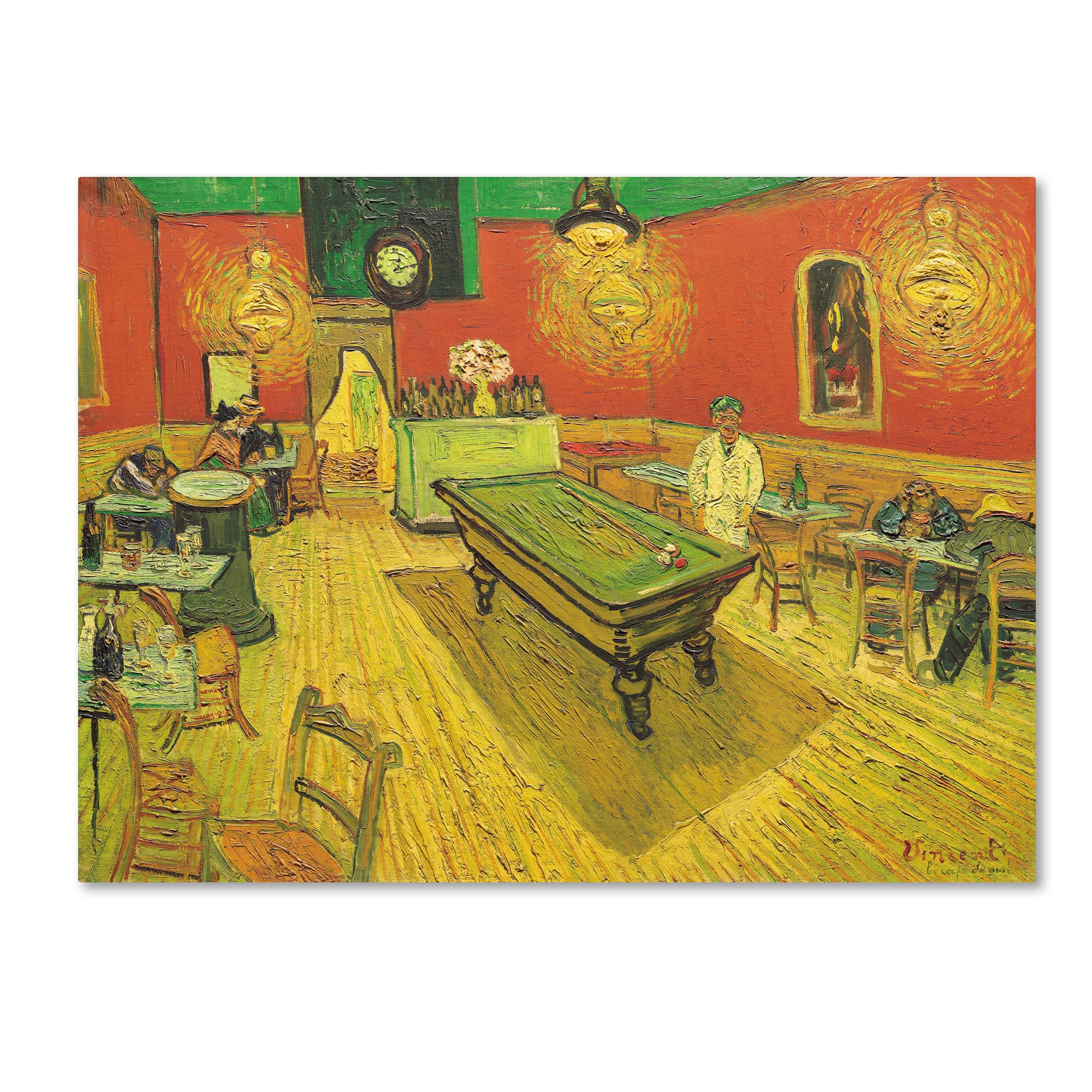 Shop Vincent van Gogh \'Night Caf? with Pool Table\' Canvas Art - On ...