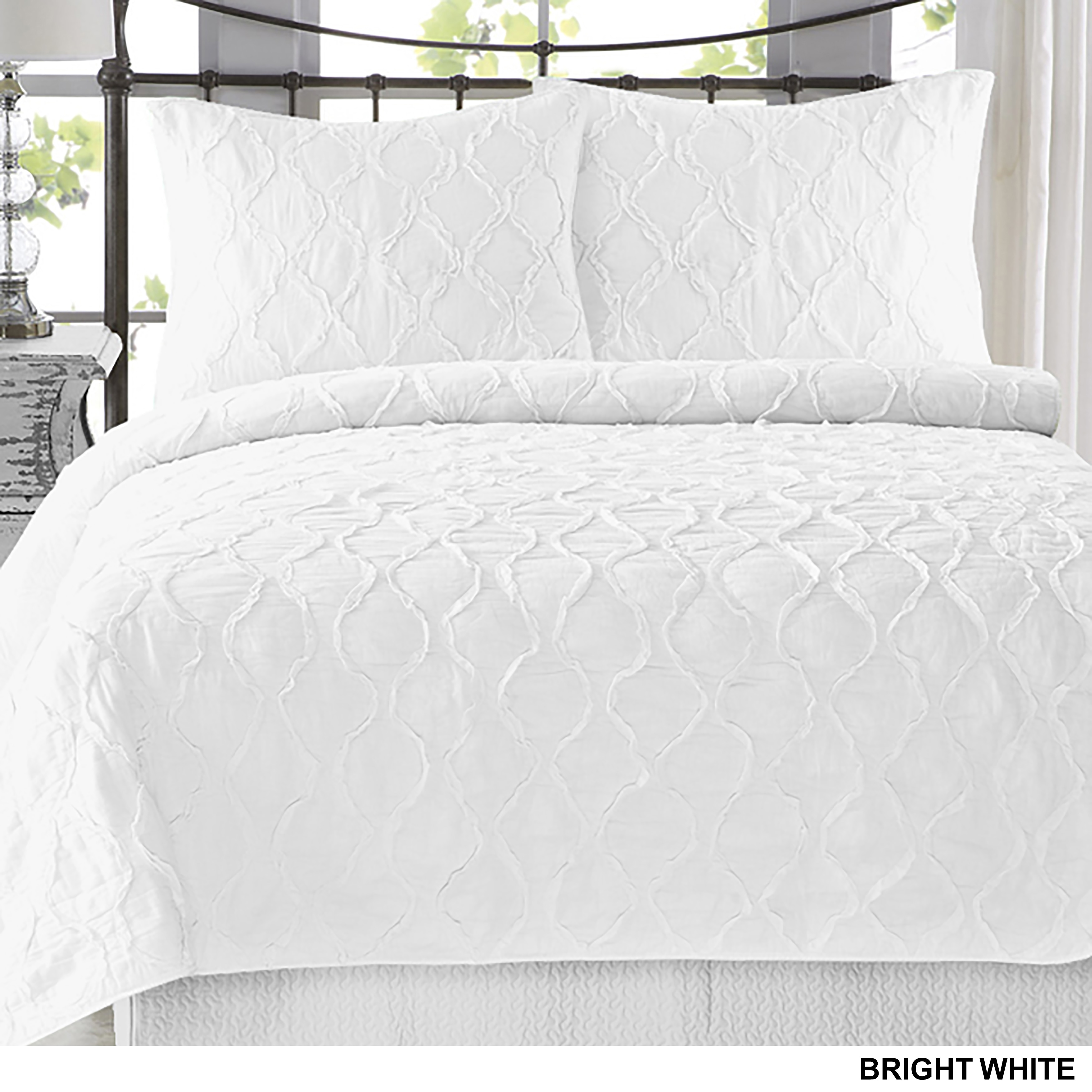 piece today bath bedding shipping comforter overstock set ruffle free product decor lush stripe white