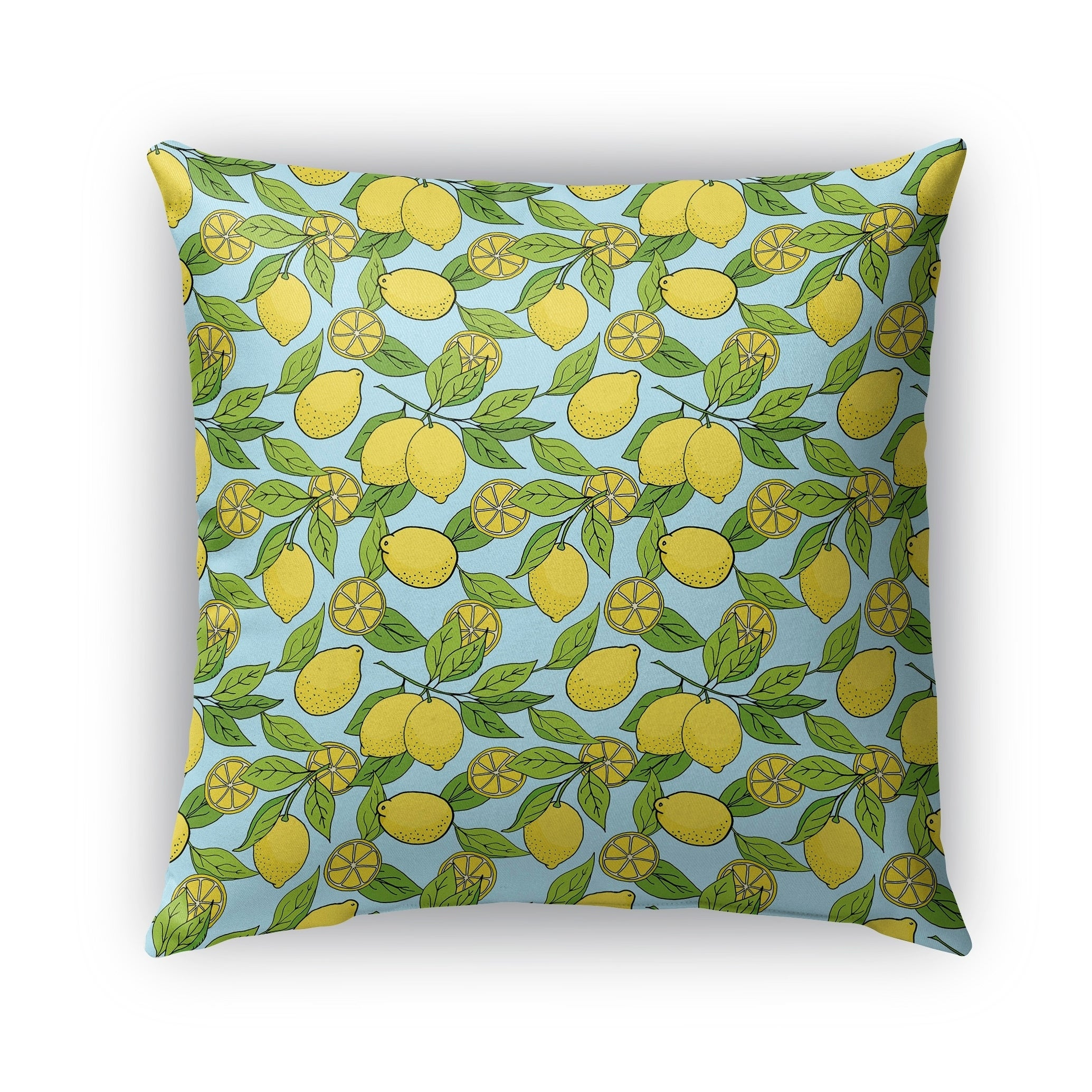 Shop Kavka Designs Blue; Yellow; Green Lemons Outdoor Pillow With Insert    Free Shipping On Orders Over $45   Overstock   16963448