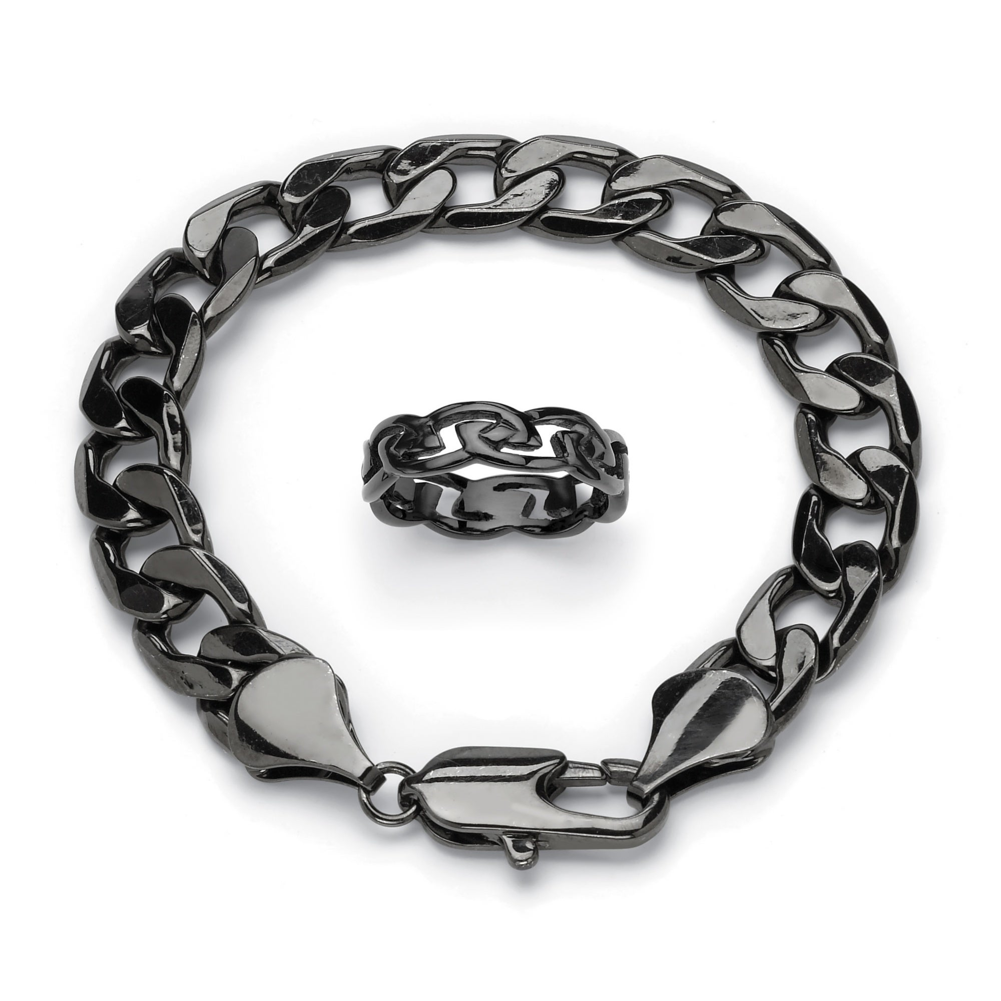 Shop Men\'s Barbed Wire Ring and Curb-Link Bracelet Set in Black Ion ...