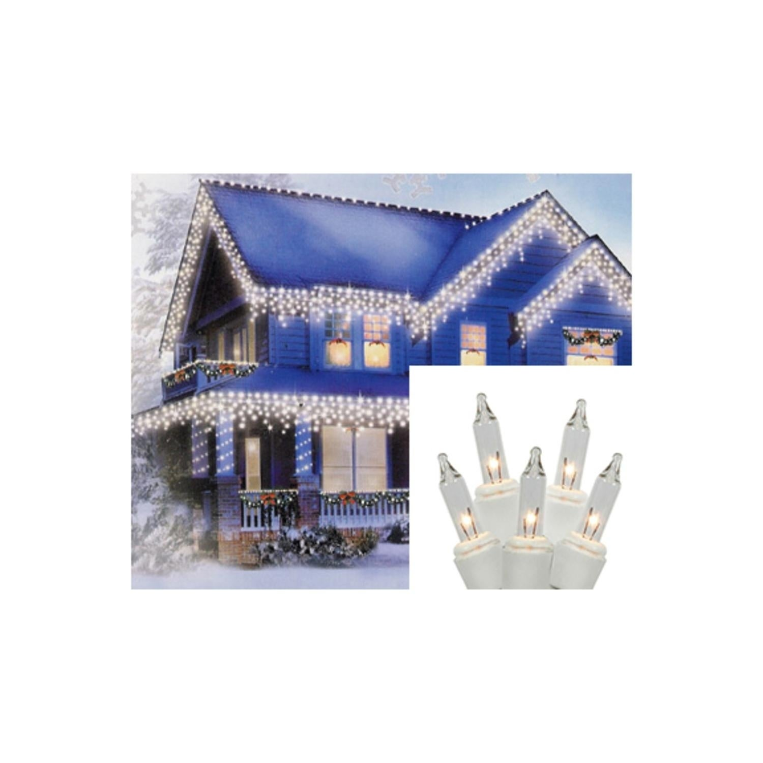 Shop Set of 300 Shimmering Clear Mini Icicle Christmas Lights ...