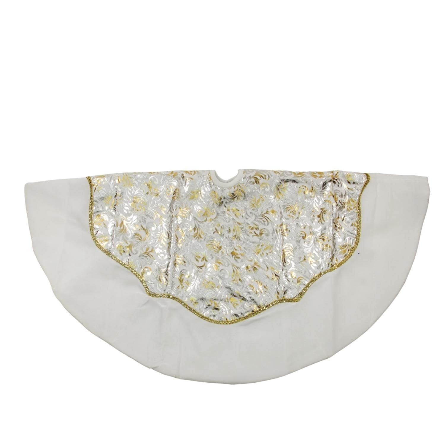 48 Gold And Silver Flourish Christmas Tree Skirt With White Velveteen Trim