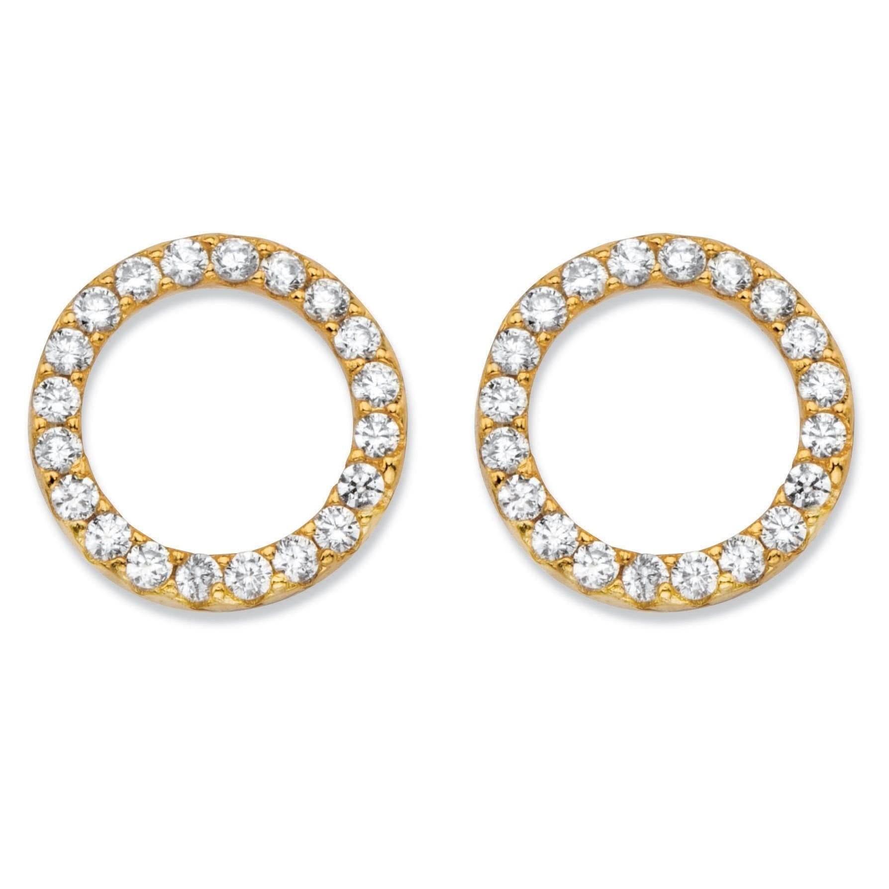 bee2d5a78 Shop Round Cubic Zirconia 14k Yellow Gold over Sterling Silver Circle Button  Earrings (.28 cttw) Classic CZ - Free Shipping On Orders Over $45 -  Overstock - ...